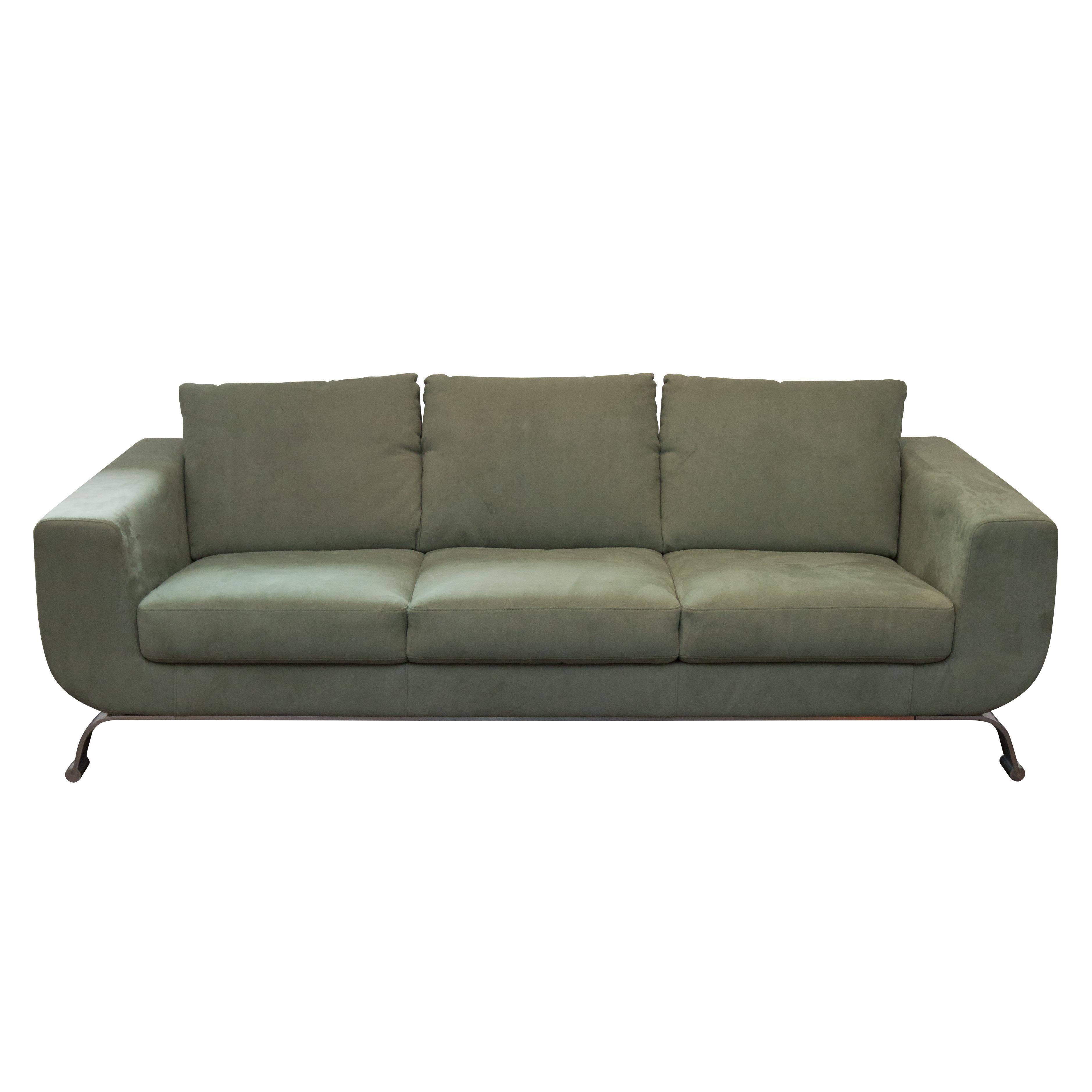 Seafoam ultrasuede modern italian sofa chairish for Ultra modern italian furniture