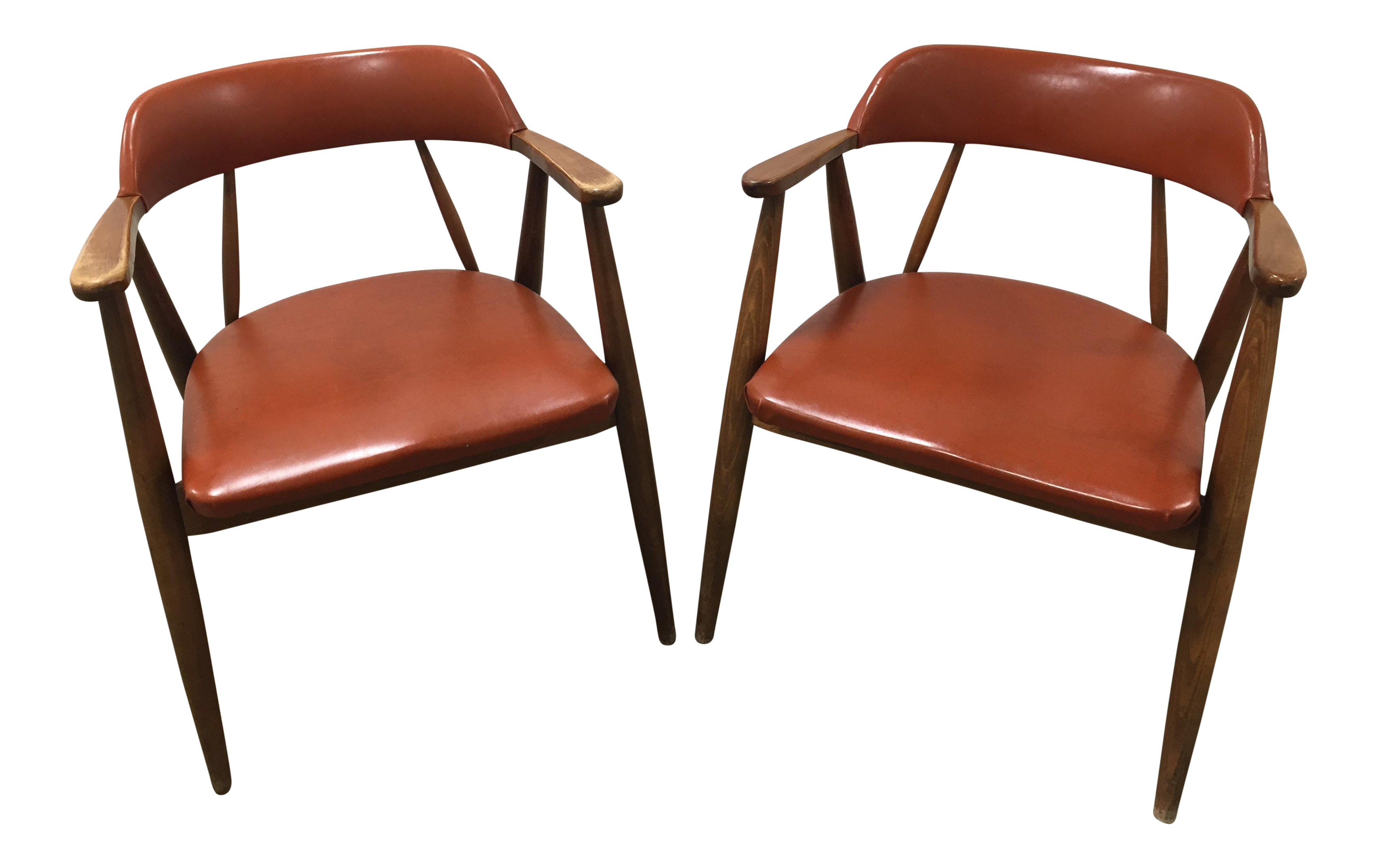 Vintage Mid Century Modern Chairs by Boling Chair Co A Pair