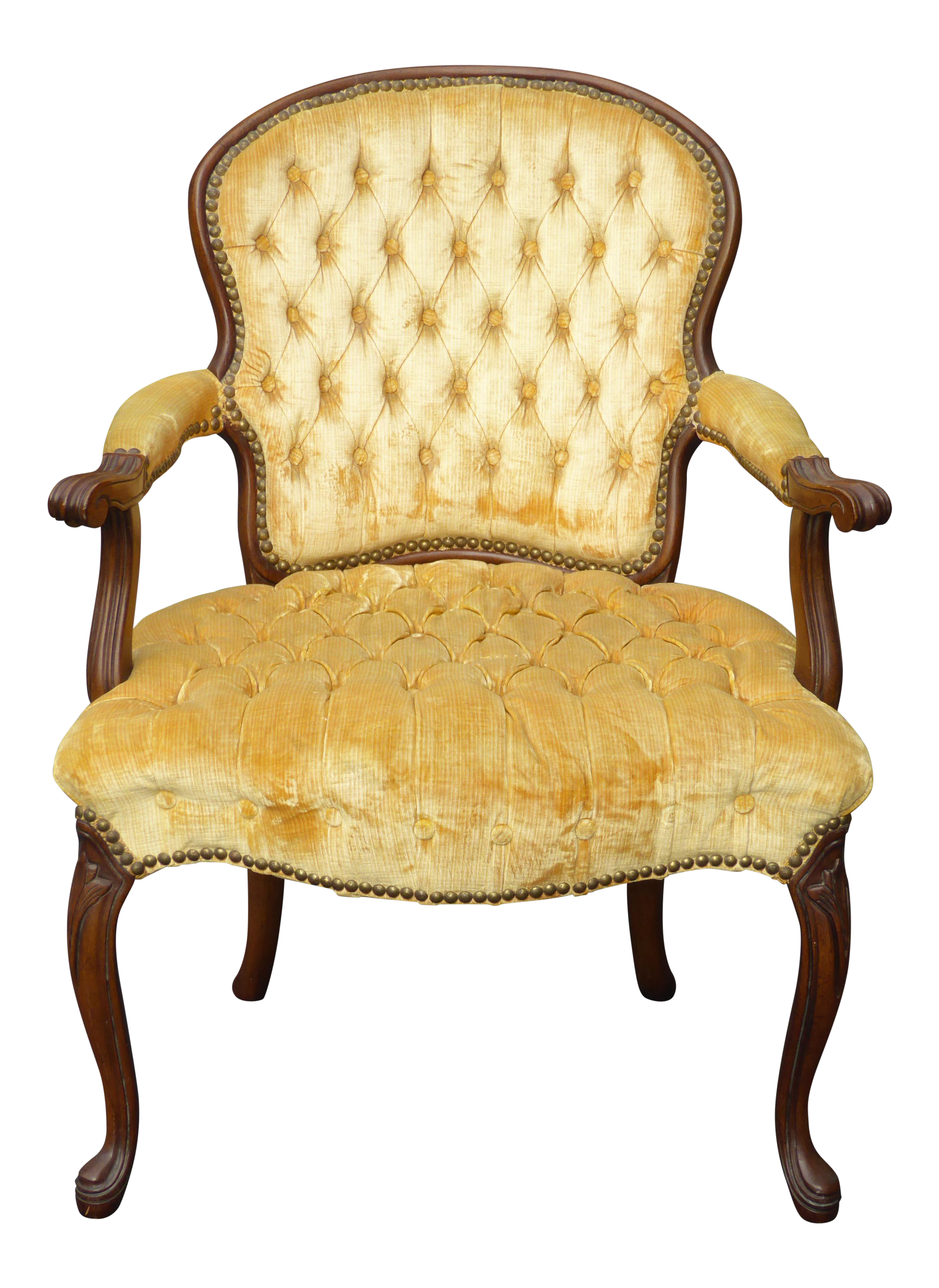 Antique velvet chair - Image Of Vintage French Provincial Tufted Gold Velvet Accent Chair