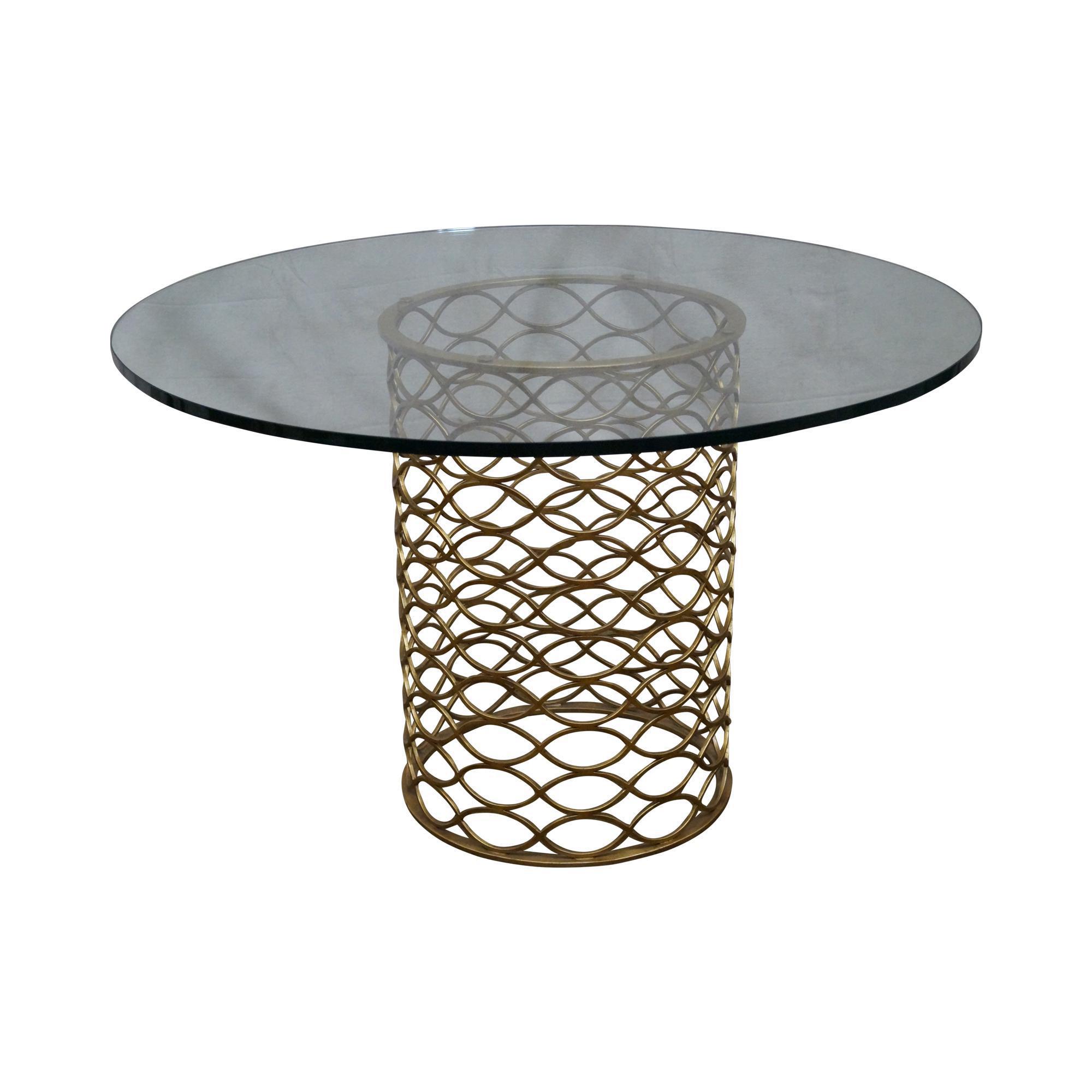 Jonathan Charles Gilt Metal Round Glass Top Dining Table