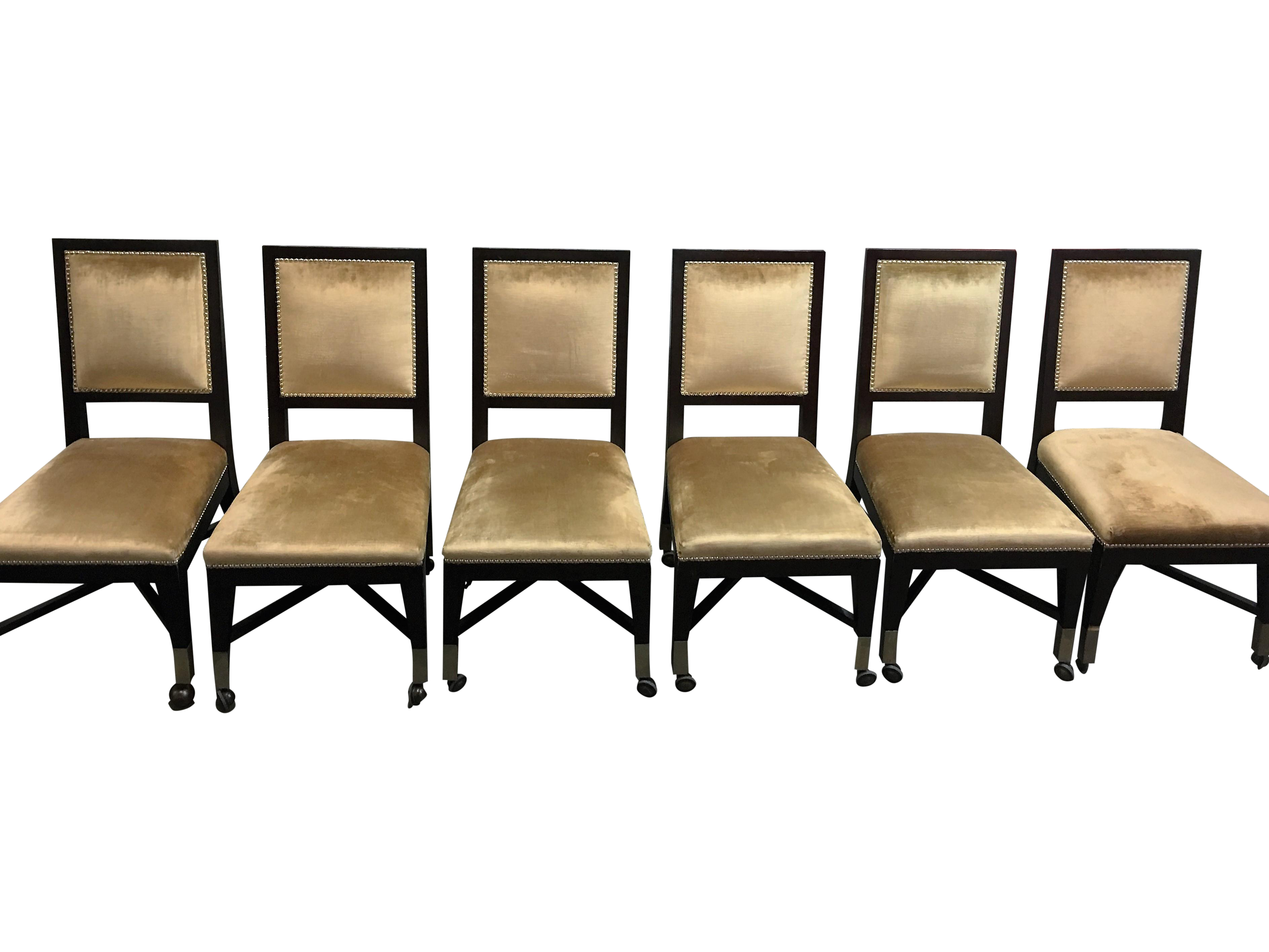 Mark David Gold Velvet Dining Chairs Set of 6