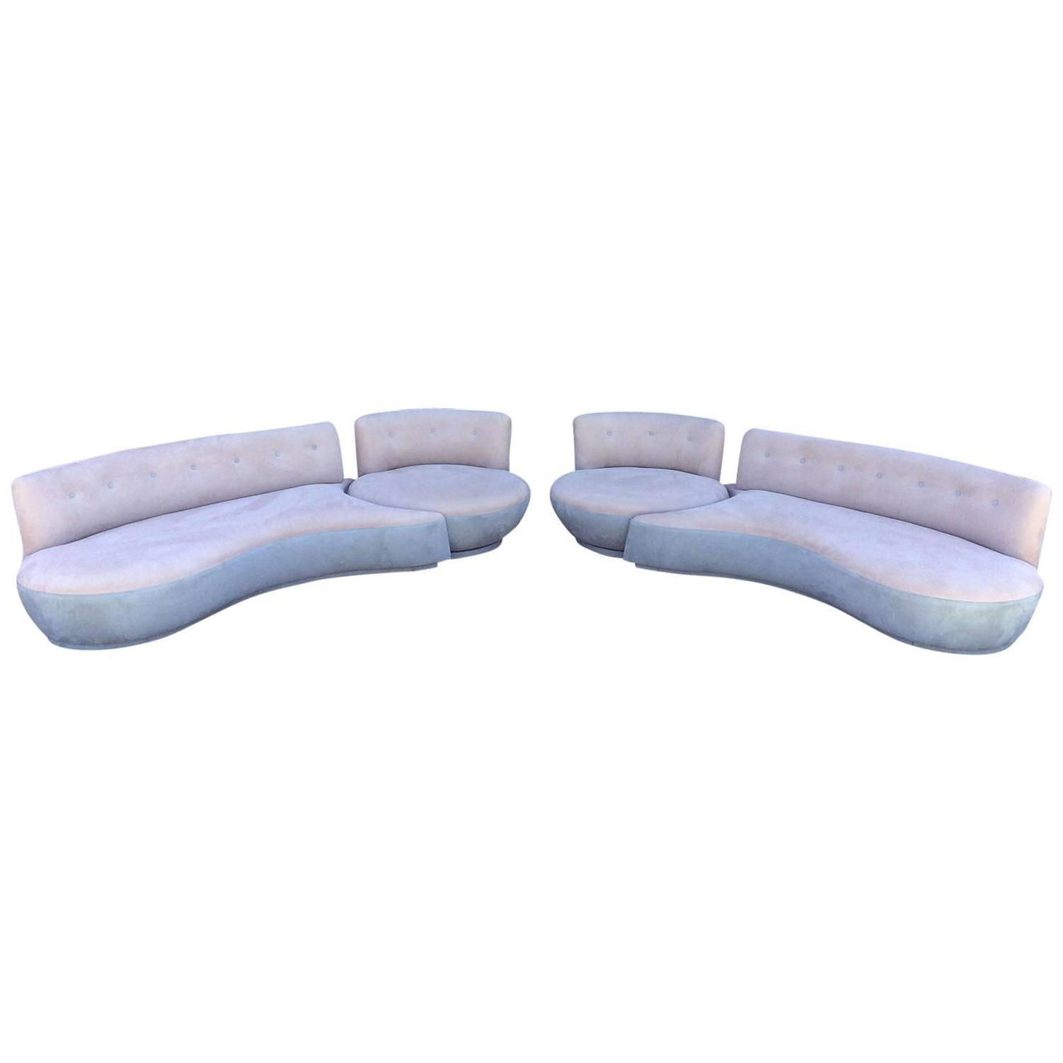 Vintage 4 piece sectional sofa with swivel chairs chairish for Sectional sofa swivel chair