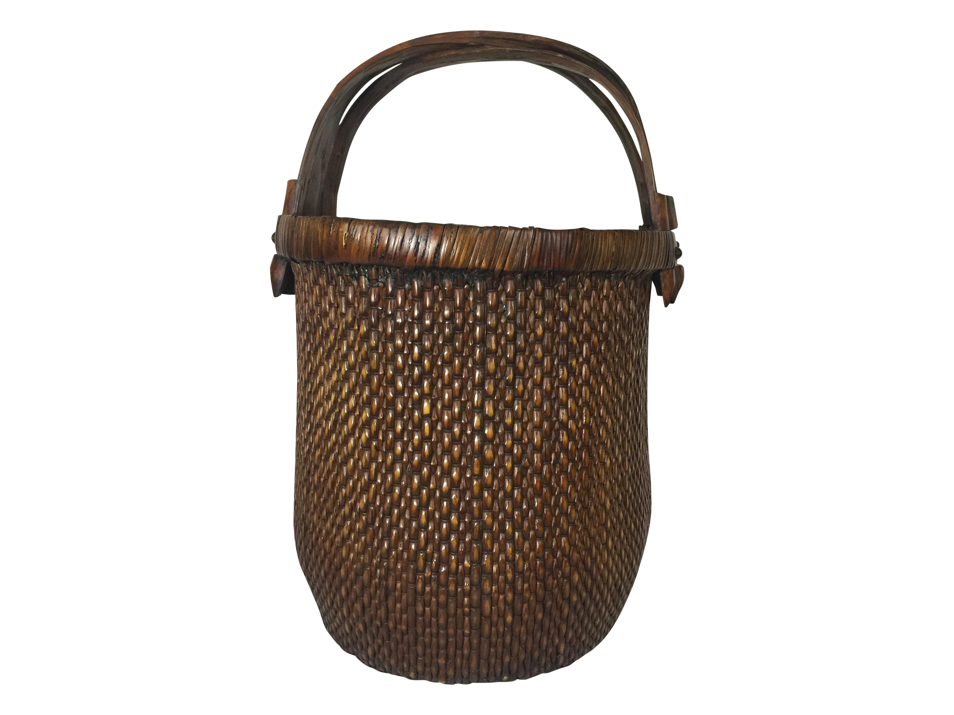 vintage chinese woven basket with handle chairish. Black Bedroom Furniture Sets. Home Design Ideas