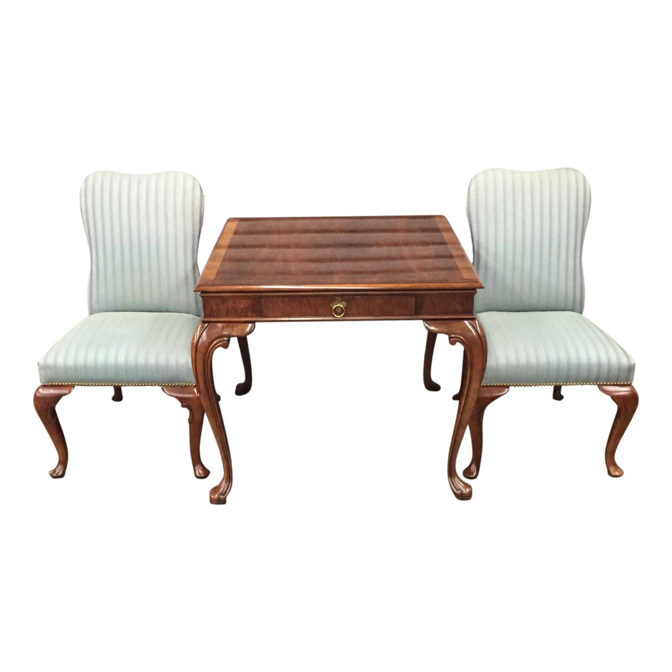 Game Table And Chairs Set Baker Game Table Set Set Of 3 Chairish