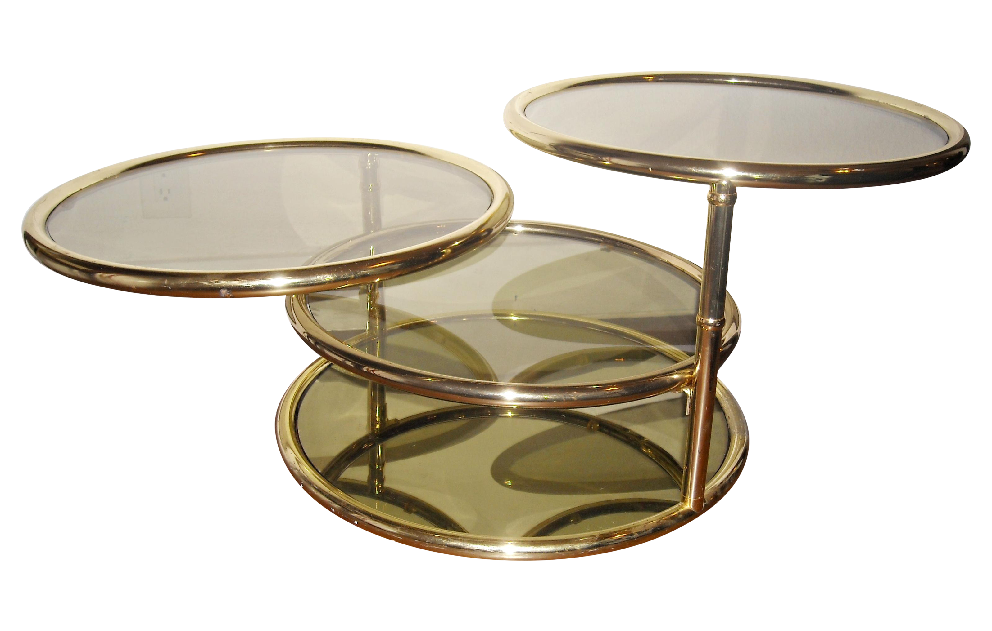 Mid Century Brass Swivel Tiered Coffee Table Round Chairish