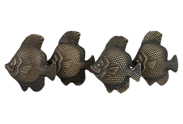 Metal fish cabinet knobs set of 4 chairish for Fish drawer pulls
