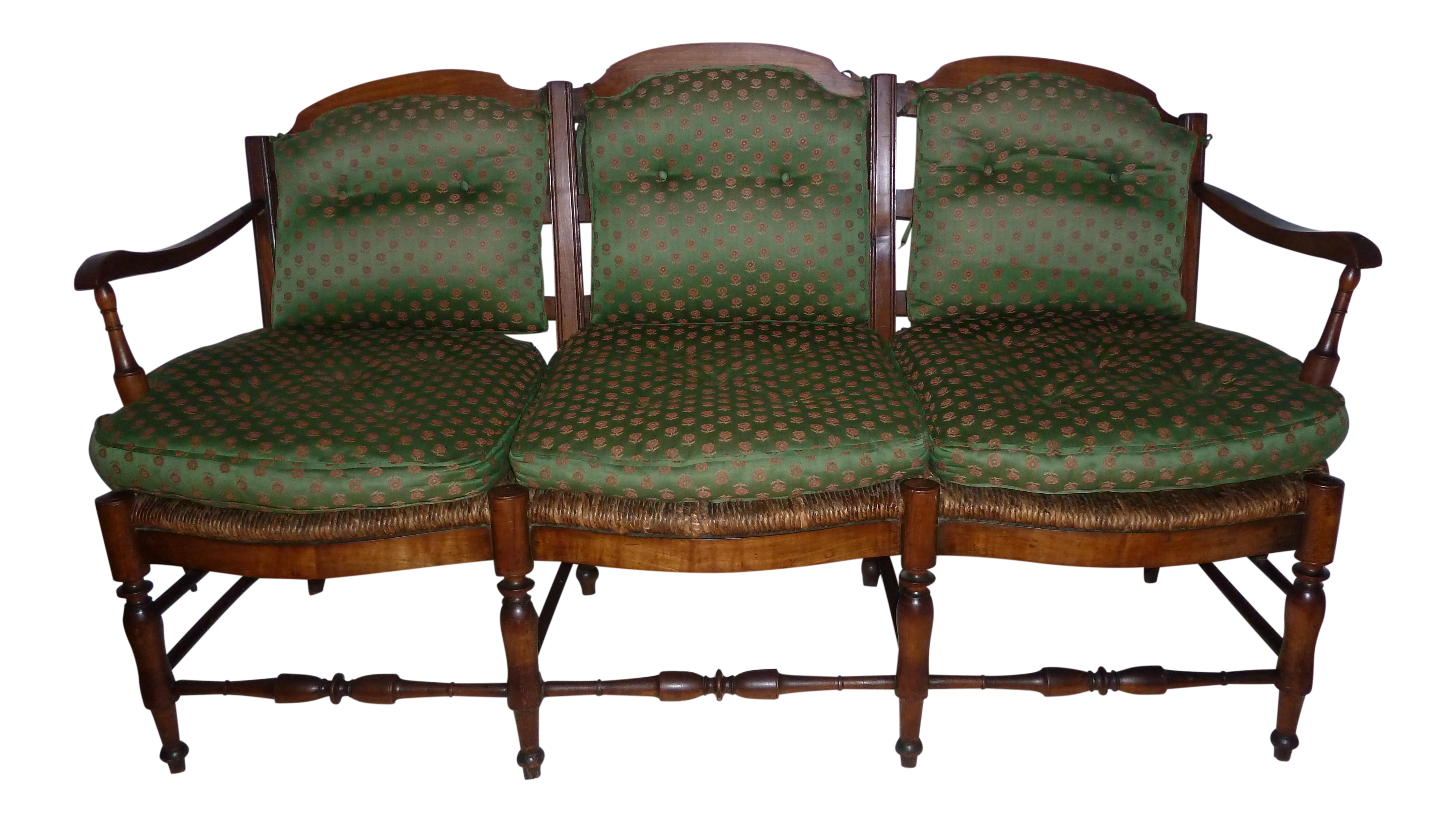 Rush Seat Country French Settee With Cushions Chairish
