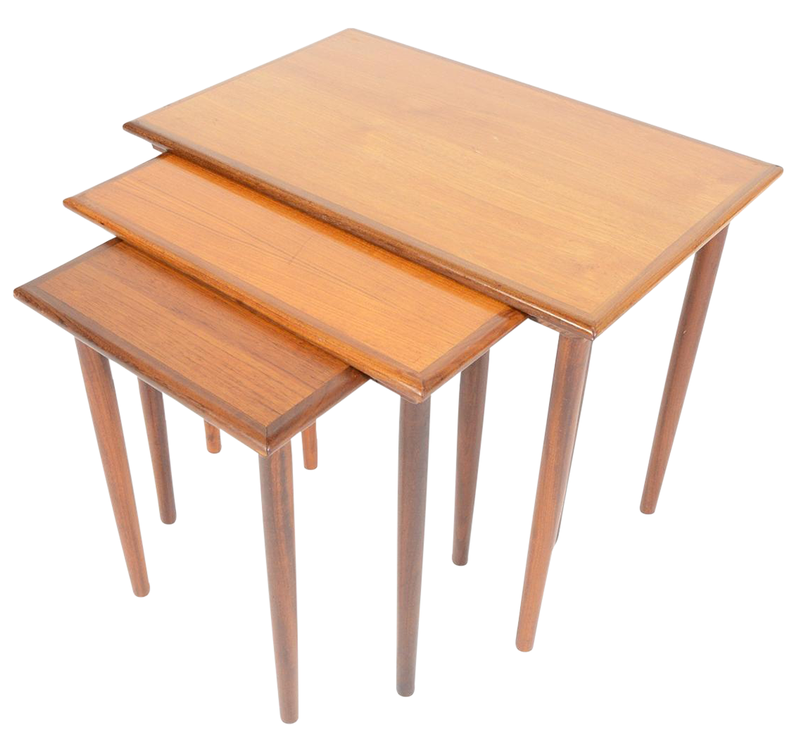 Danish Modern Teak Nesting Tables Set Of 3 Chairish