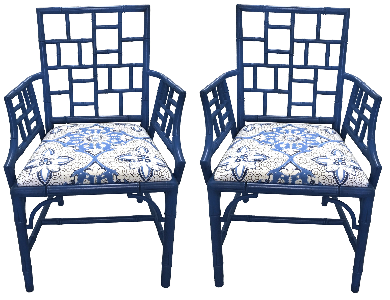 Blue Chinese Chippendale Armchairs A Pair Chairish