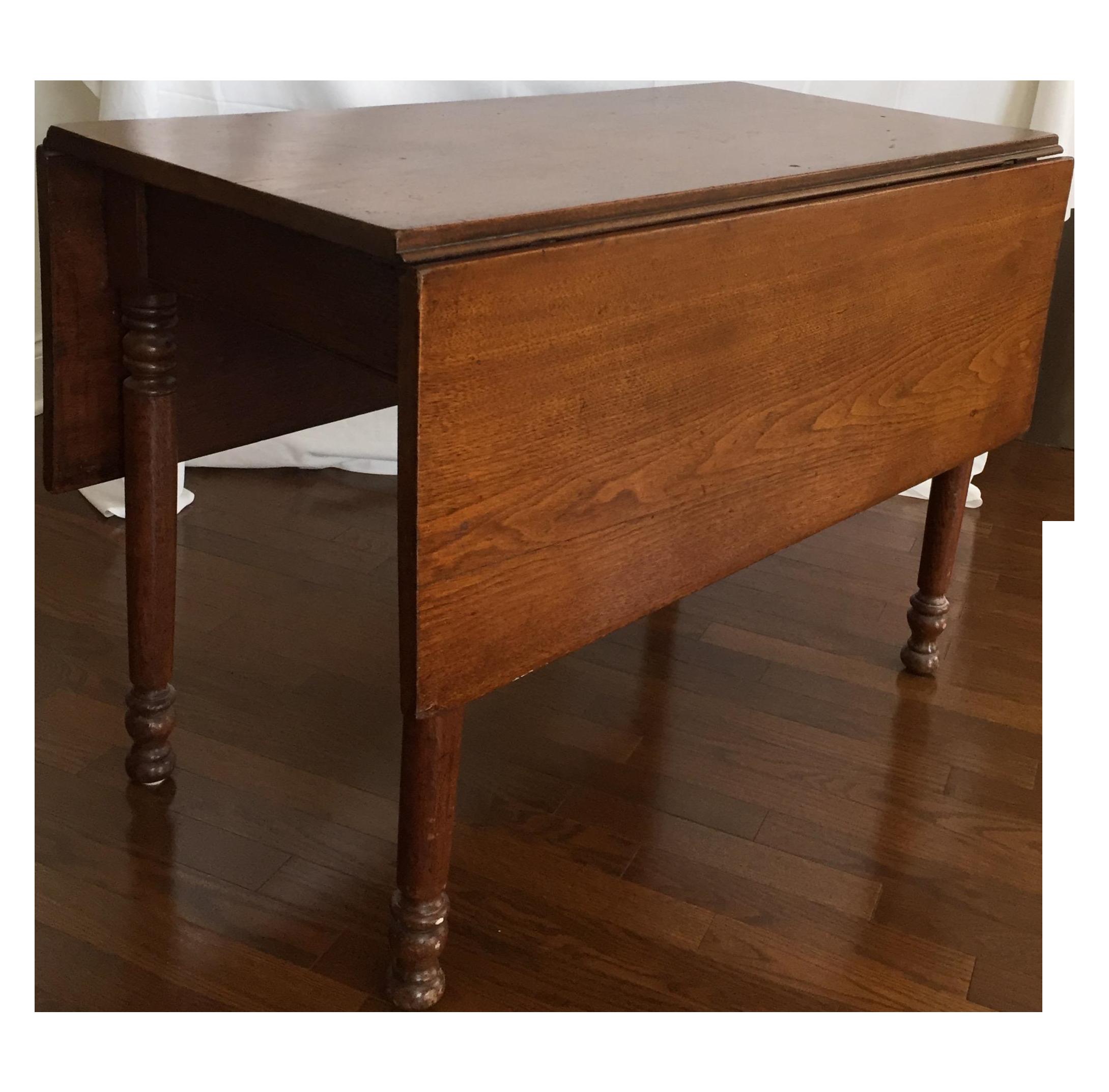 Antique Black Walnut Drop Leaf Dining Table