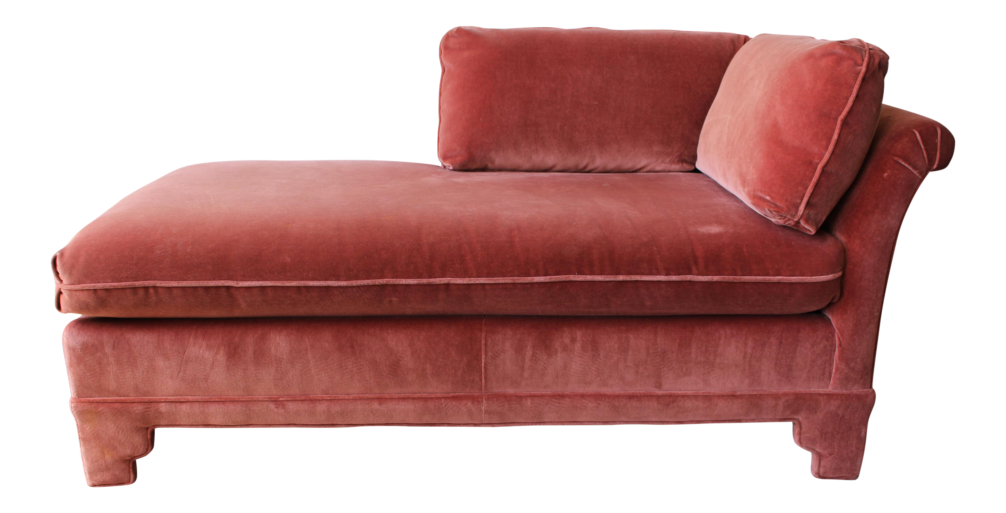 american of martinsville velvet chaise lounge  chairish -
