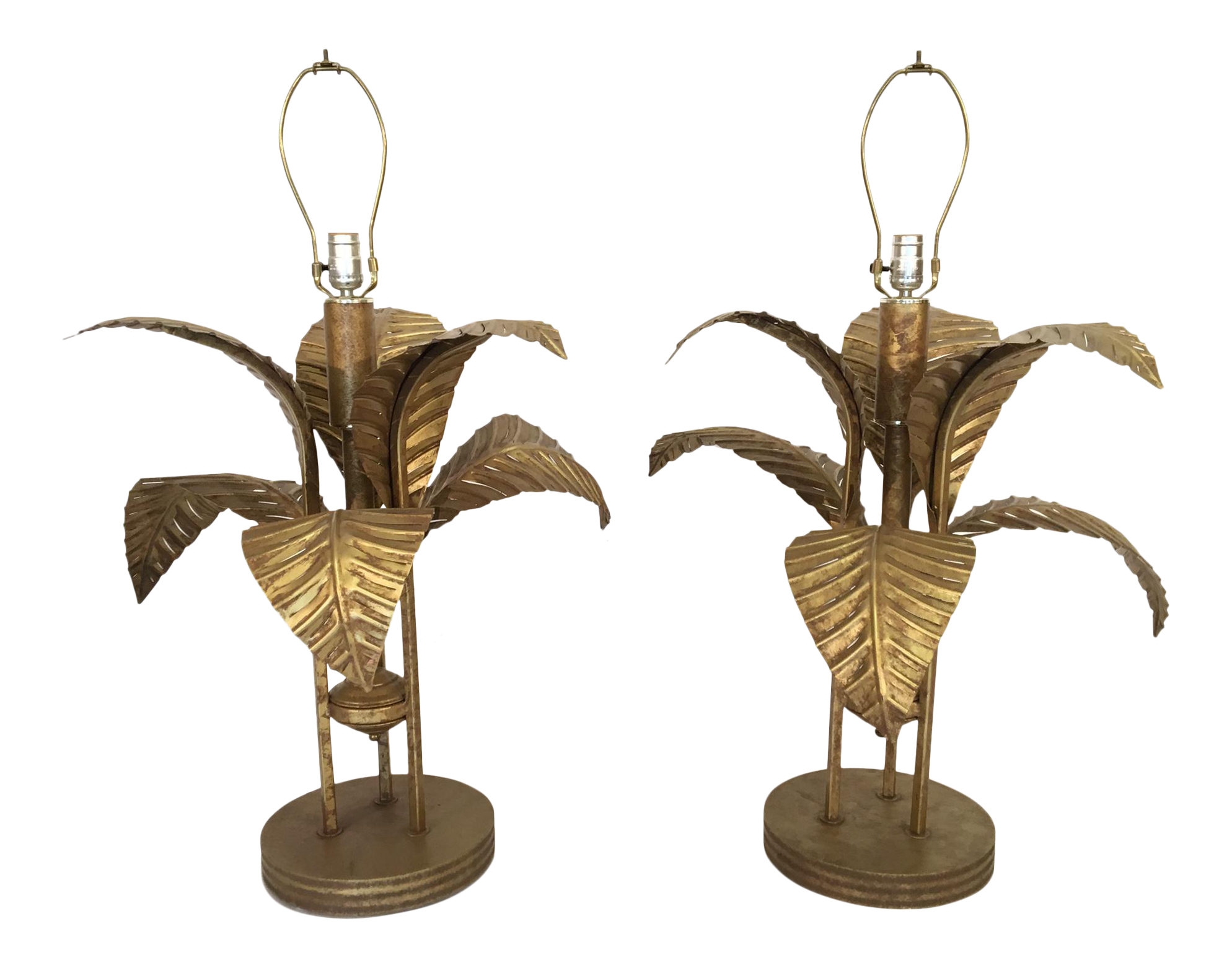 Vintage used art deco table lamps chairish large tole gold gilt sculptural palm tree leaf table lamps a pair geotapseo Images