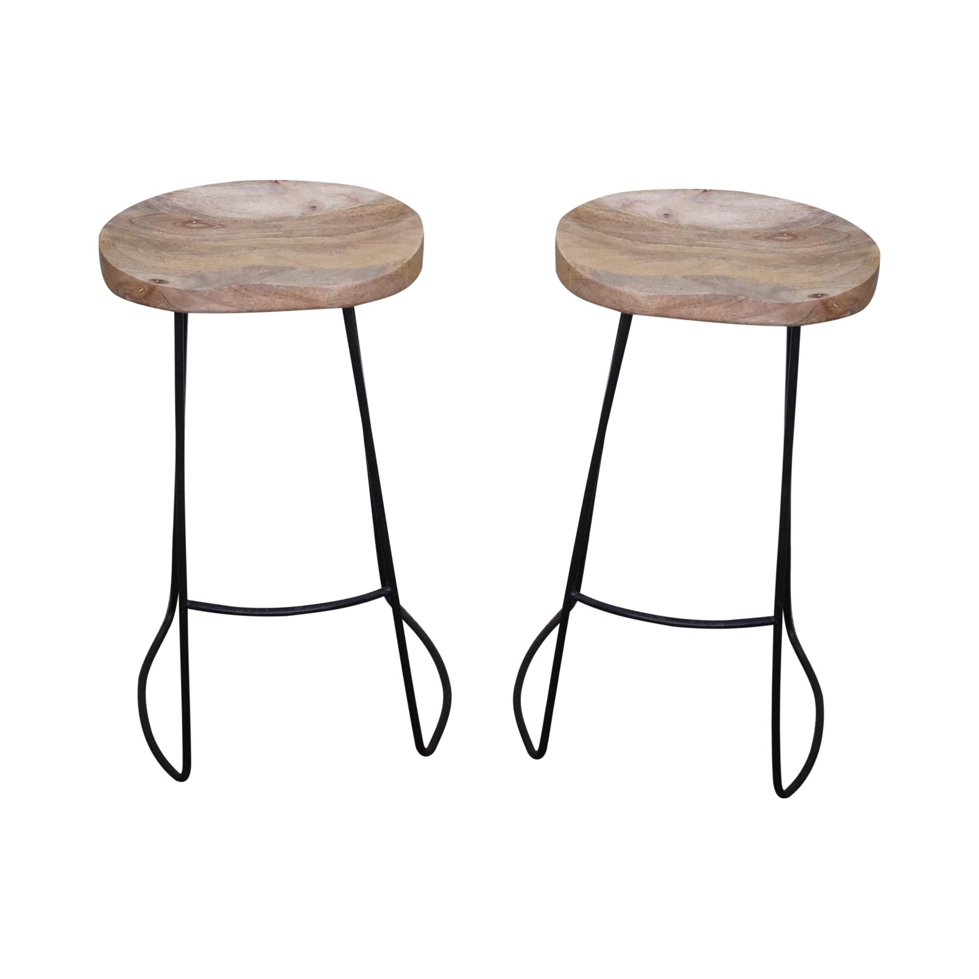 Image of mid century modern iron frame bar stools pair