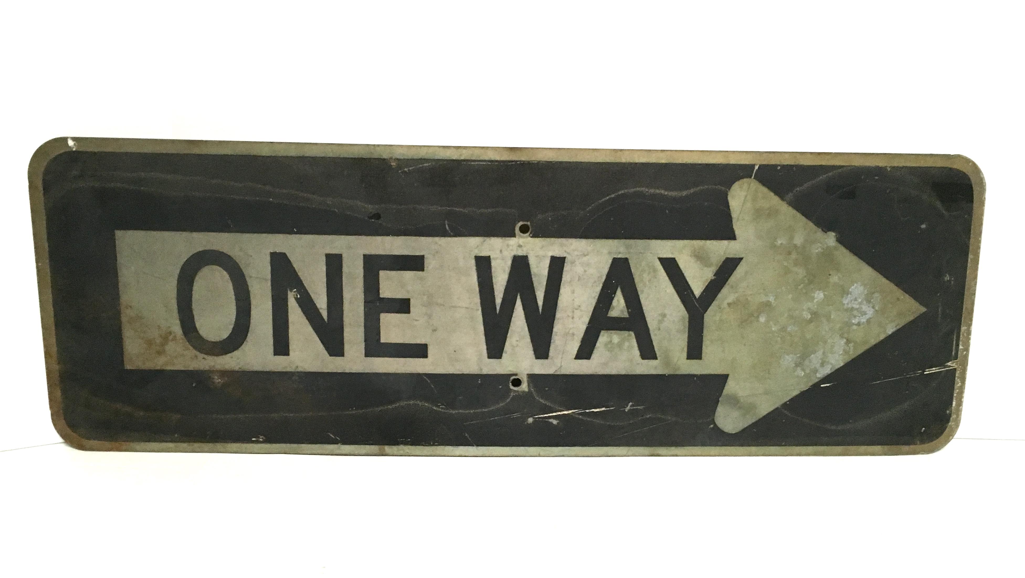 Vintage One Way Arrow Road Sign Chairish