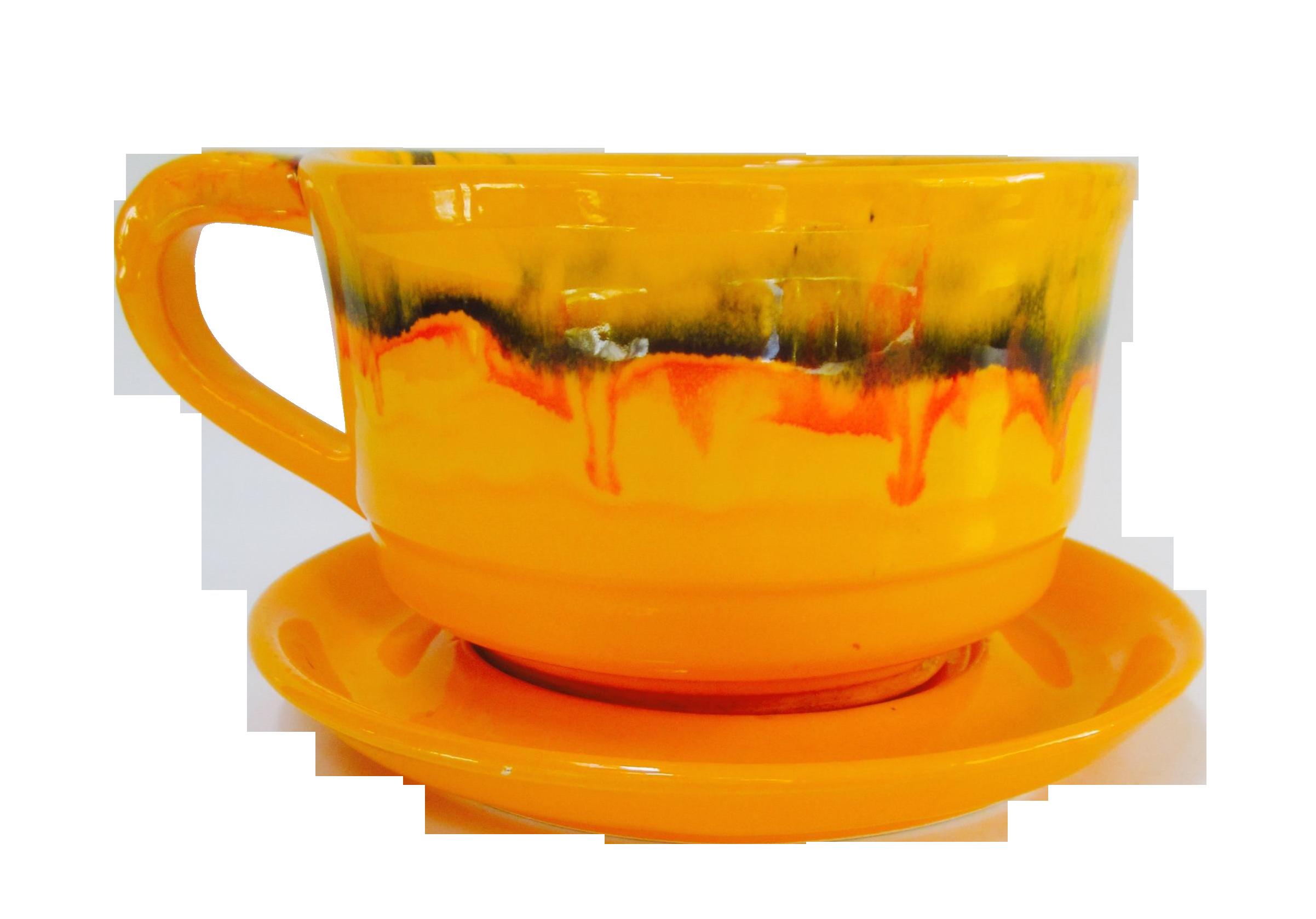 Vintage Orange Drip Glazed Cup Saucer Planter Chairish