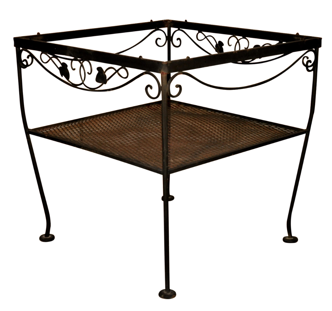 Wrought iron side table chairish for Wrought iron side table