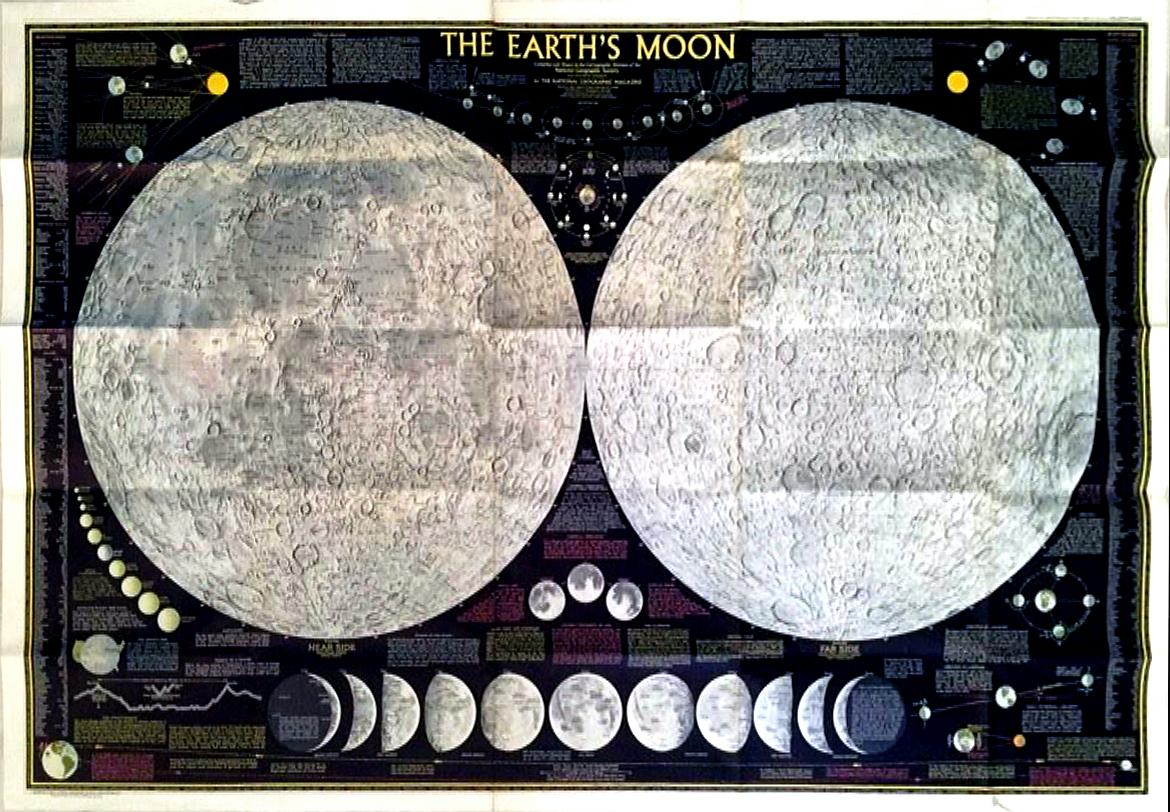 1969 National Geographic Quot The Earth S Moon Quot Map Chairish