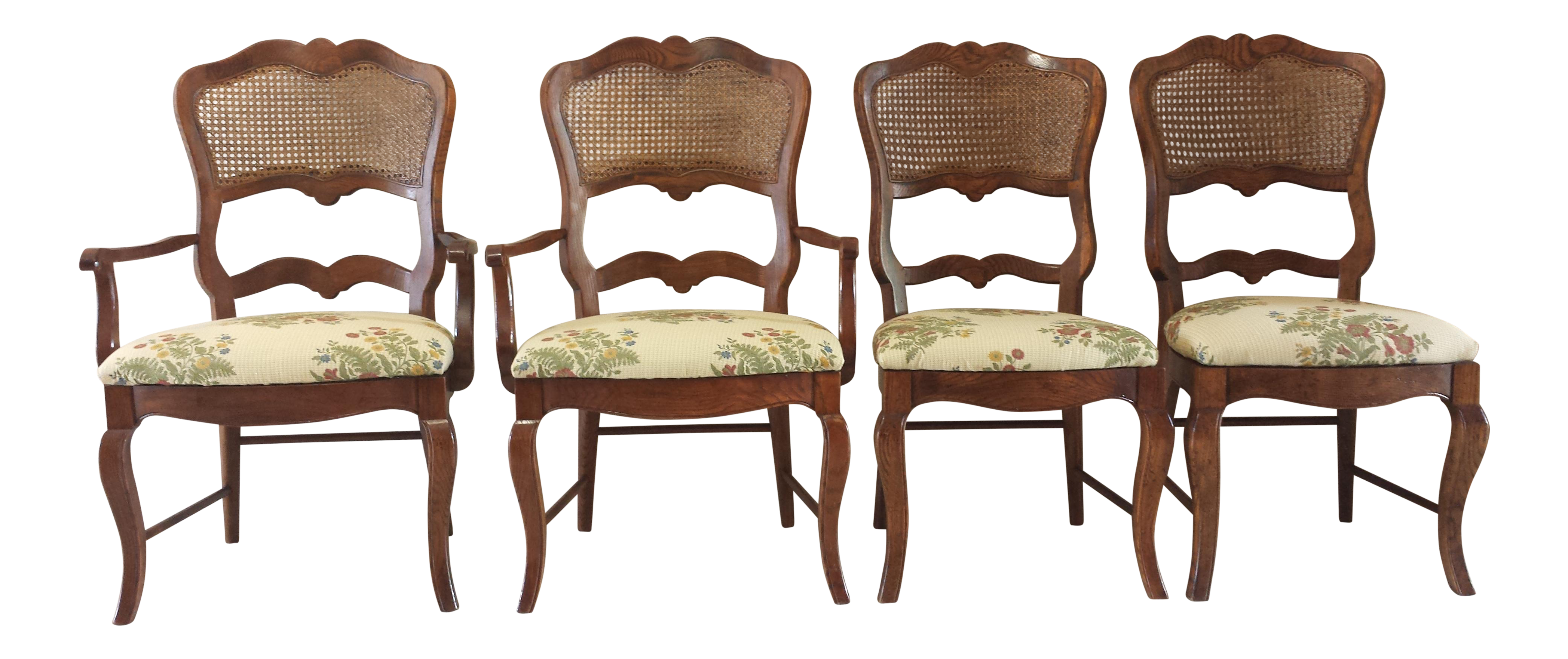 Century French Country Cane Back Dining Chairs Set of 4