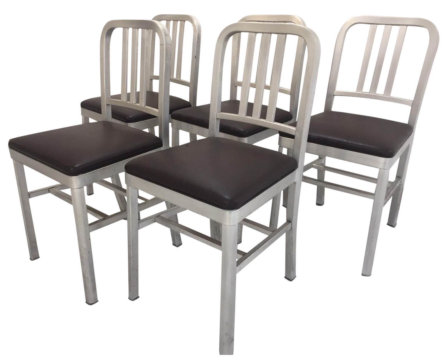Emeco Style Aluminum Chairs Set Of 5 Chairish