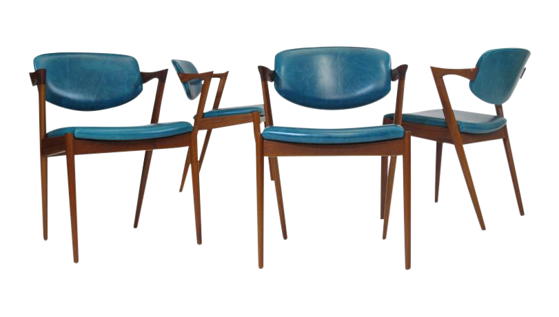Danish Dining Chair lovely six kai kristiansen teak danish dining chairs in turquoise