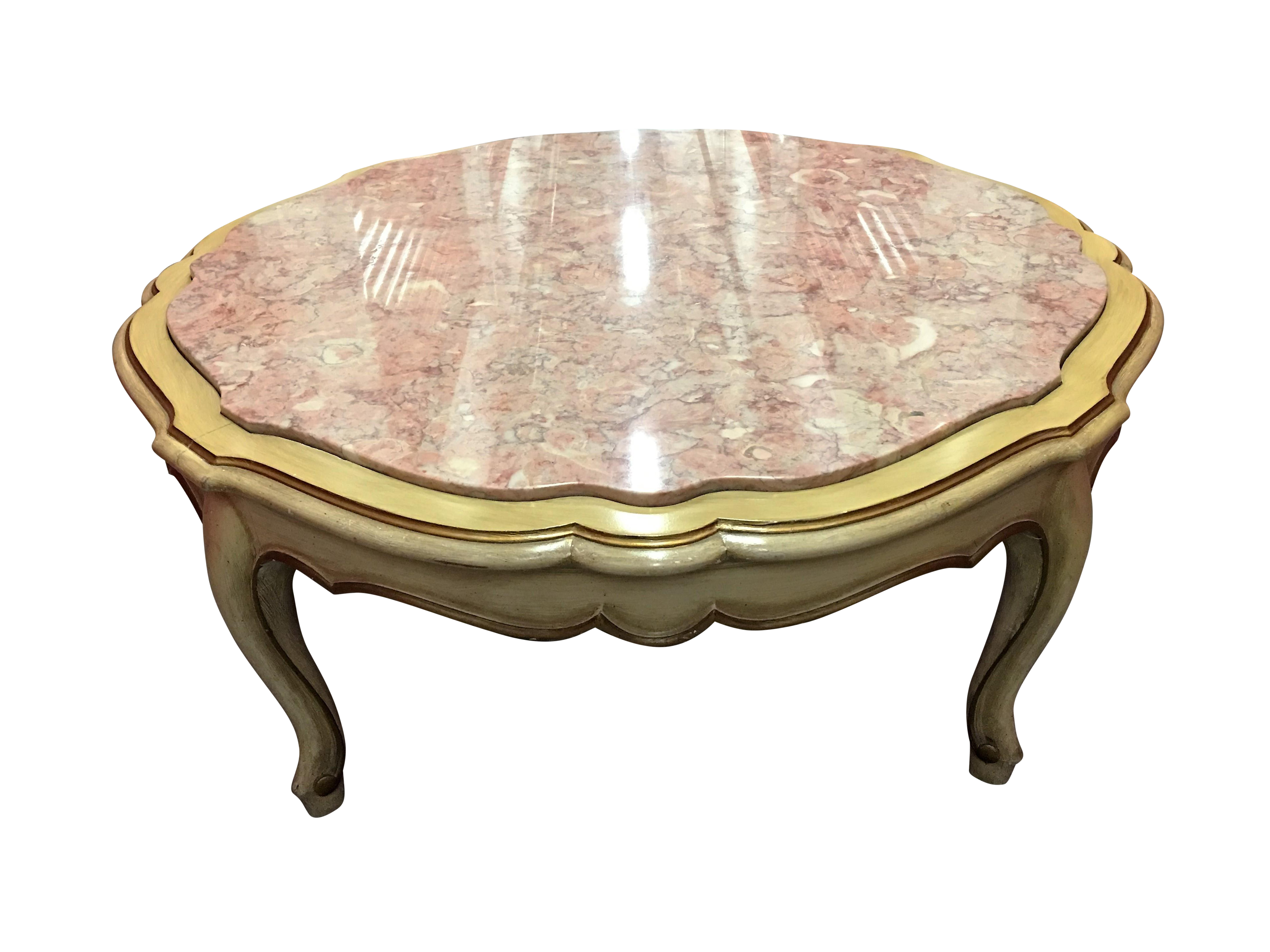 Octagon Marble Top French Provincial Coffee Table
