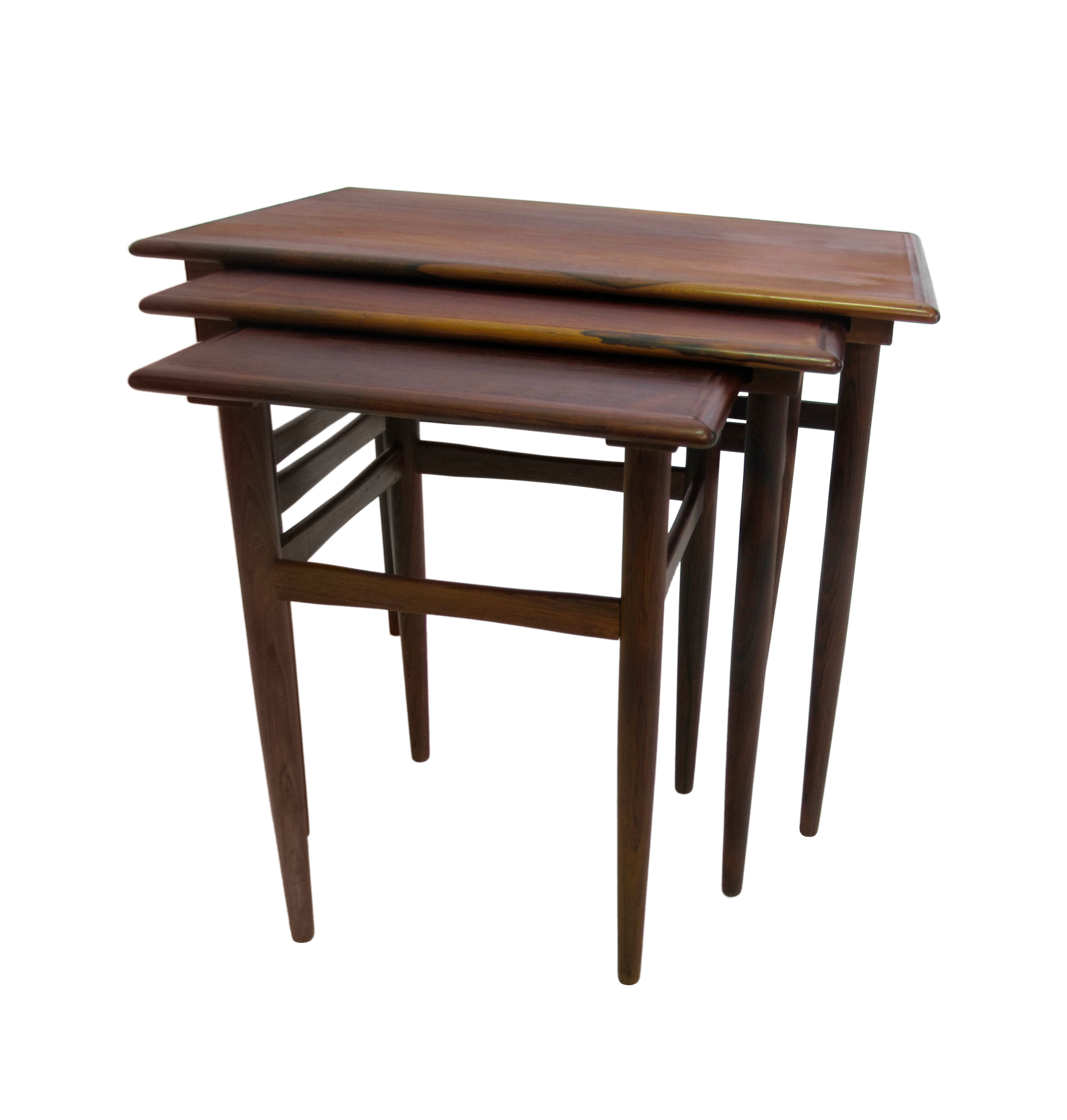 Danish Mid Century Modern Rosewood Nesting Tables Chairish. Full resolution  image, nominally Width 2858 Height 3000 pixels, image with #322119.