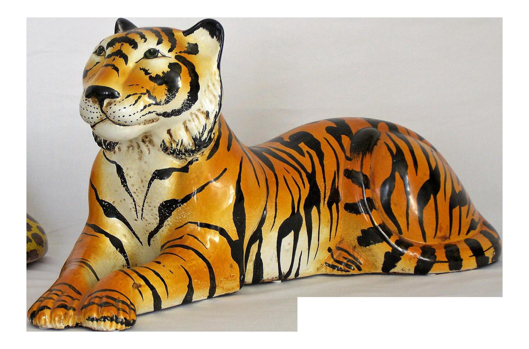 Mid Century Modern Italian Ceramic Tiger Sculpture Hollywood