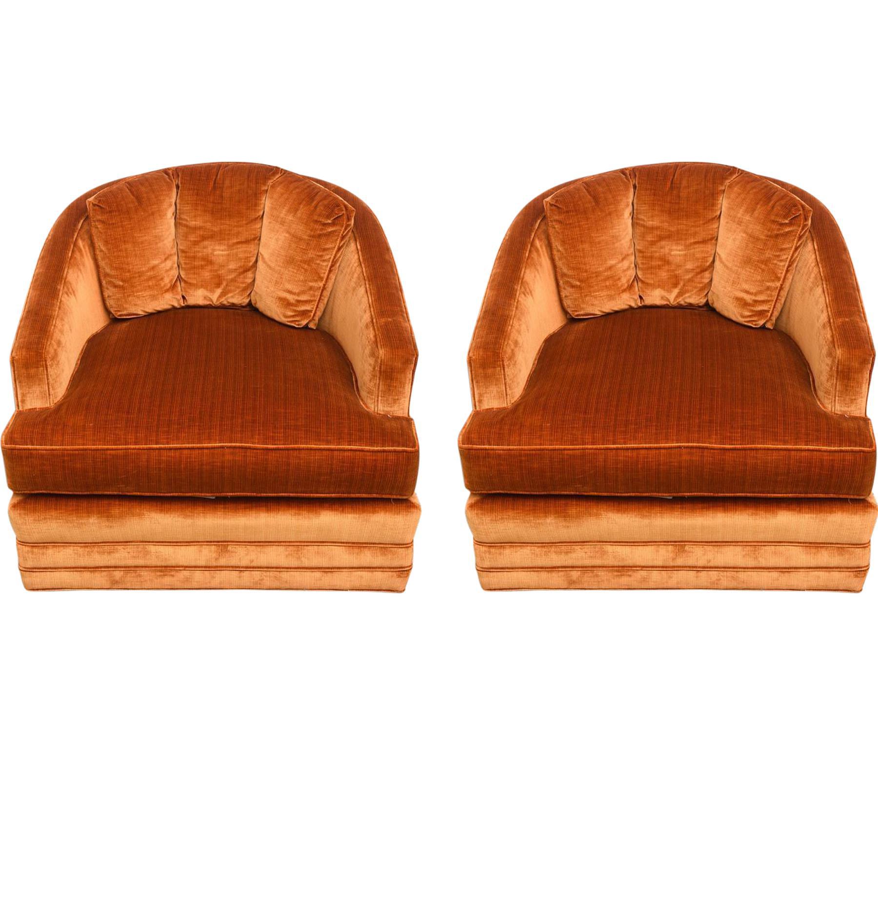 Distinguished Drexel Heritage Swivel Club Barrel Chairs 1960s USA