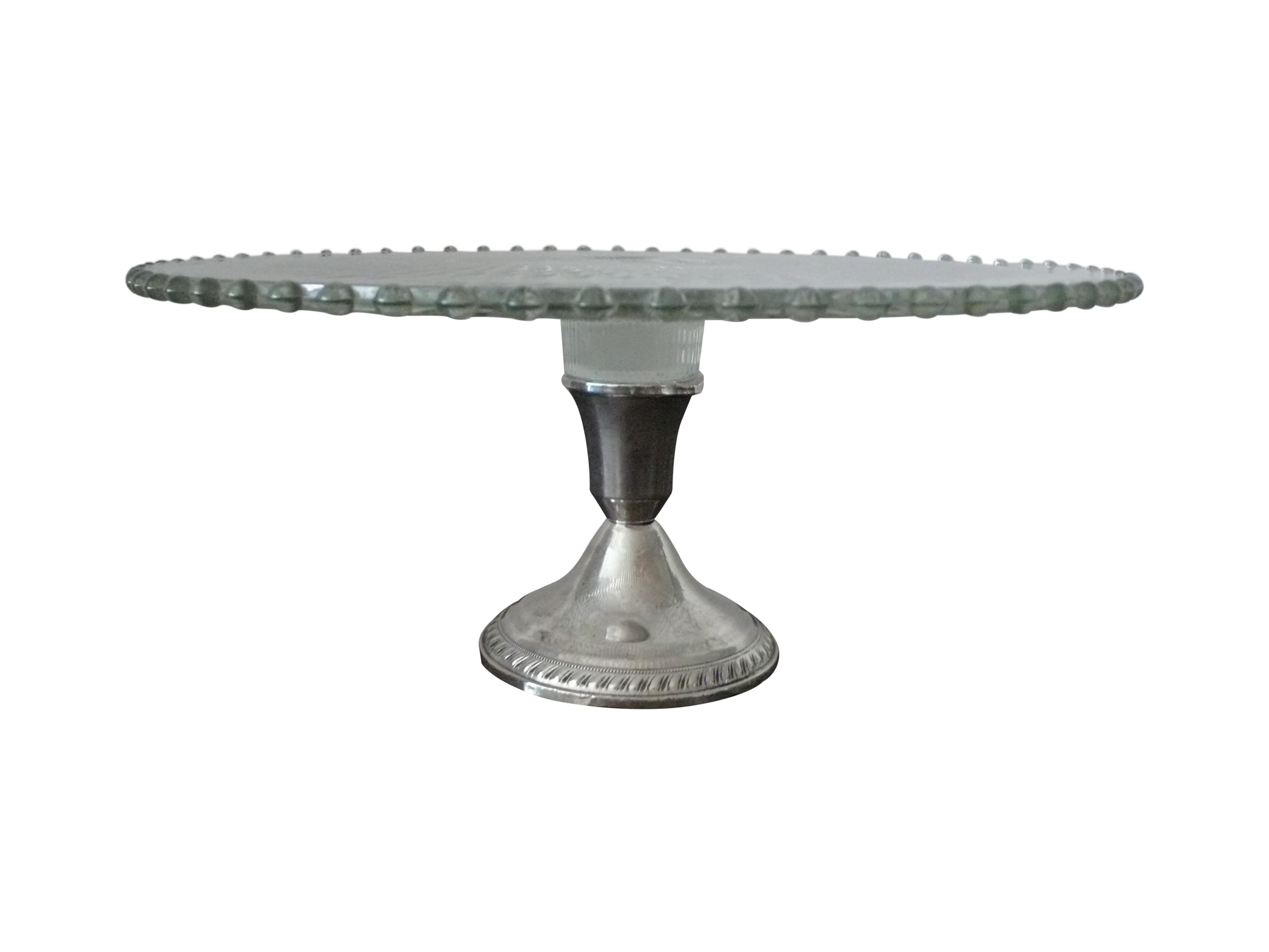 Glass Cake Plate on Sterling Silver Base by Duchin