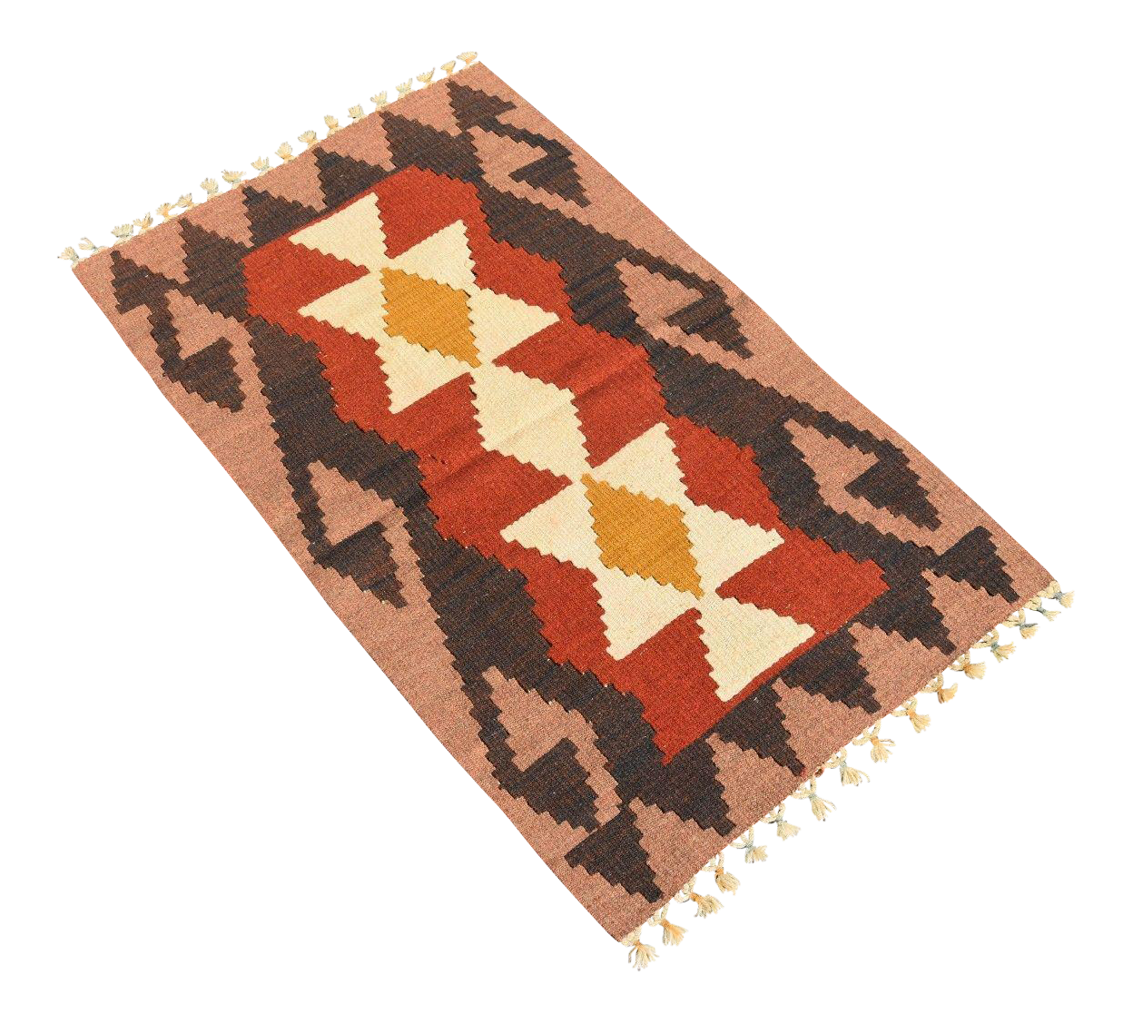 Art Kilim Wool Rug: Turkish Handmade Wool Kilim Rug - 1′11″ × 3′2″