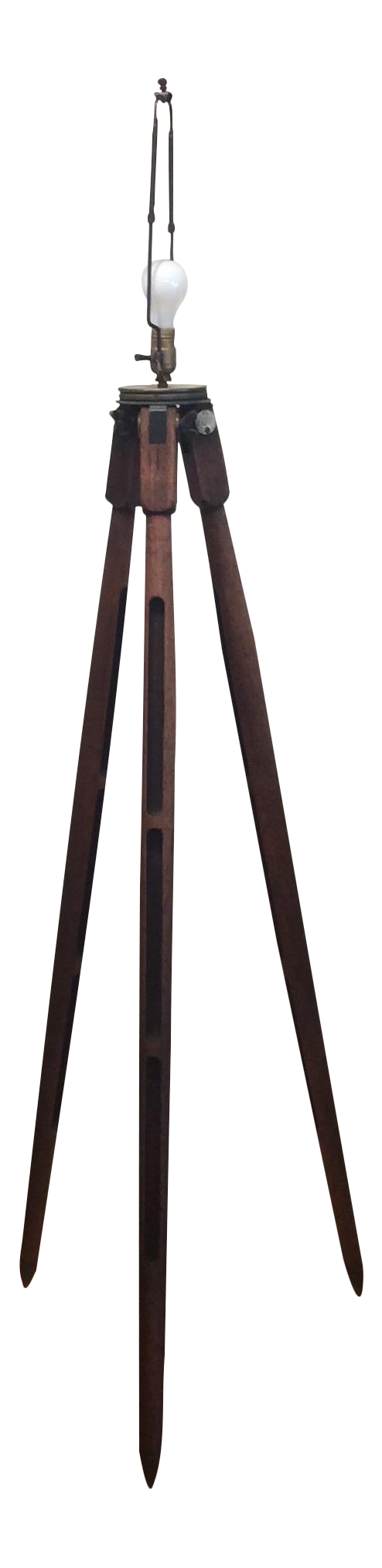 Vintage surveyors tripod floor lamp chairish for Surveyors floor lamp wood