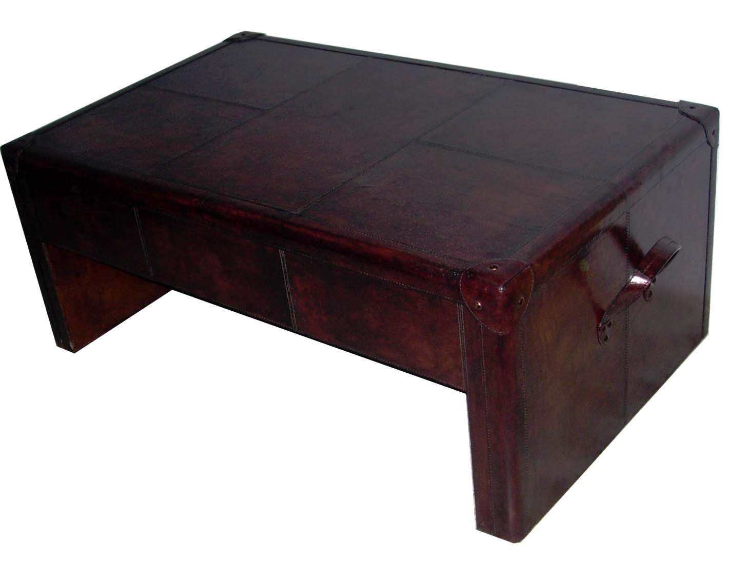 Mdf leather coffee table chairish for Coffee table 80 x 50