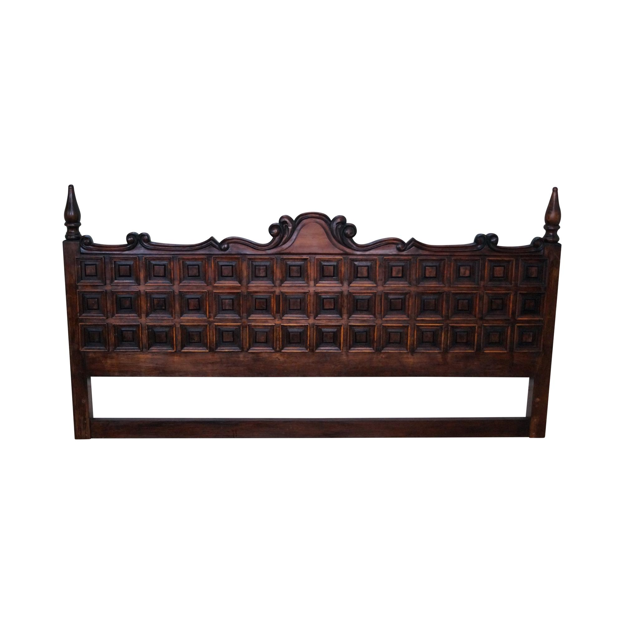 vintage spanish style rustic raised panel king headboard chairish. Black Bedroom Furniture Sets. Home Design Ideas
