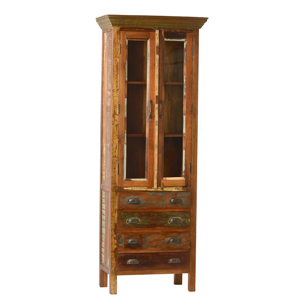 Reclaimed Wood Glass Door Cabinet Chairish