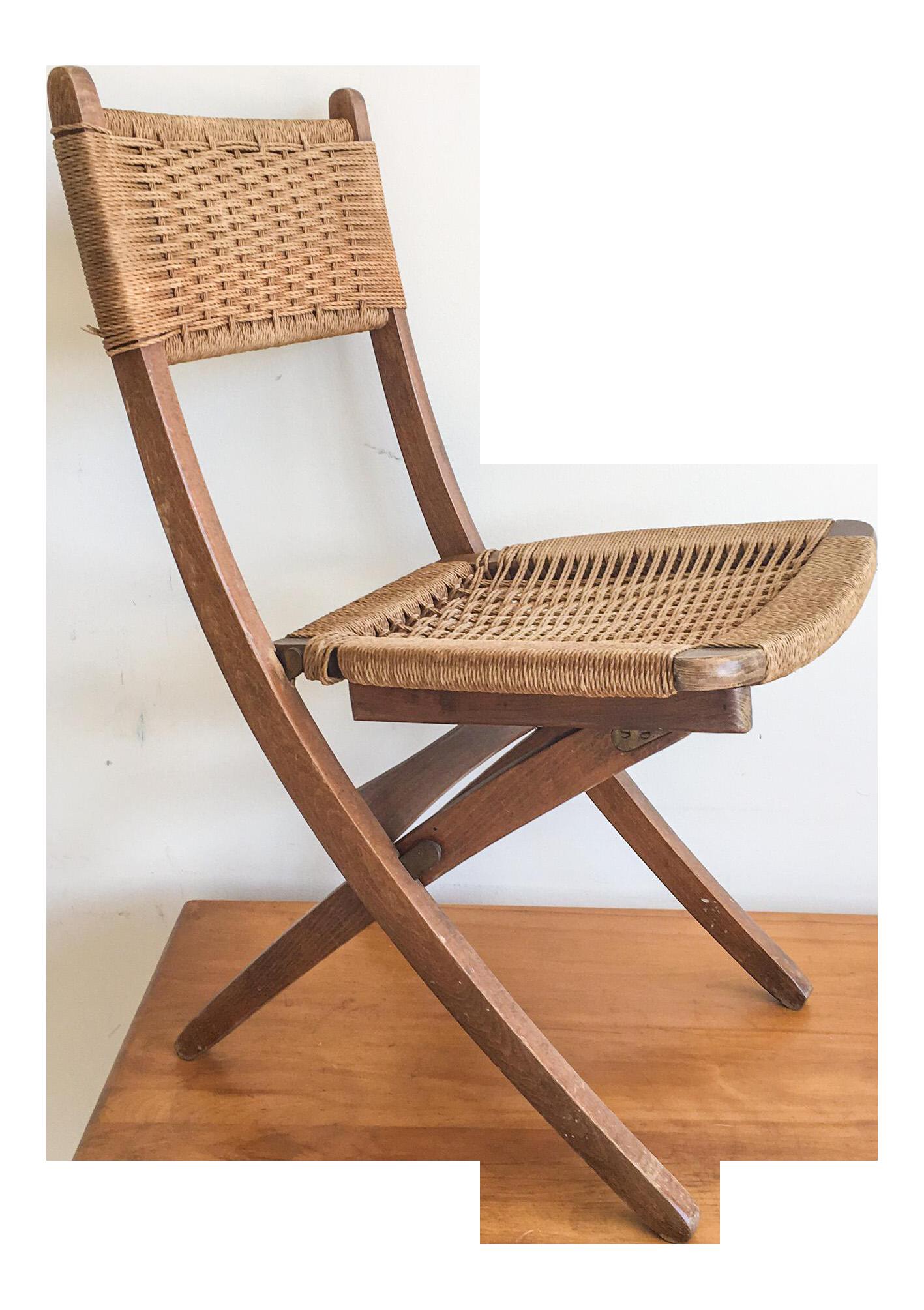 Hans Wegner Style Wood & Rush Folding Chair