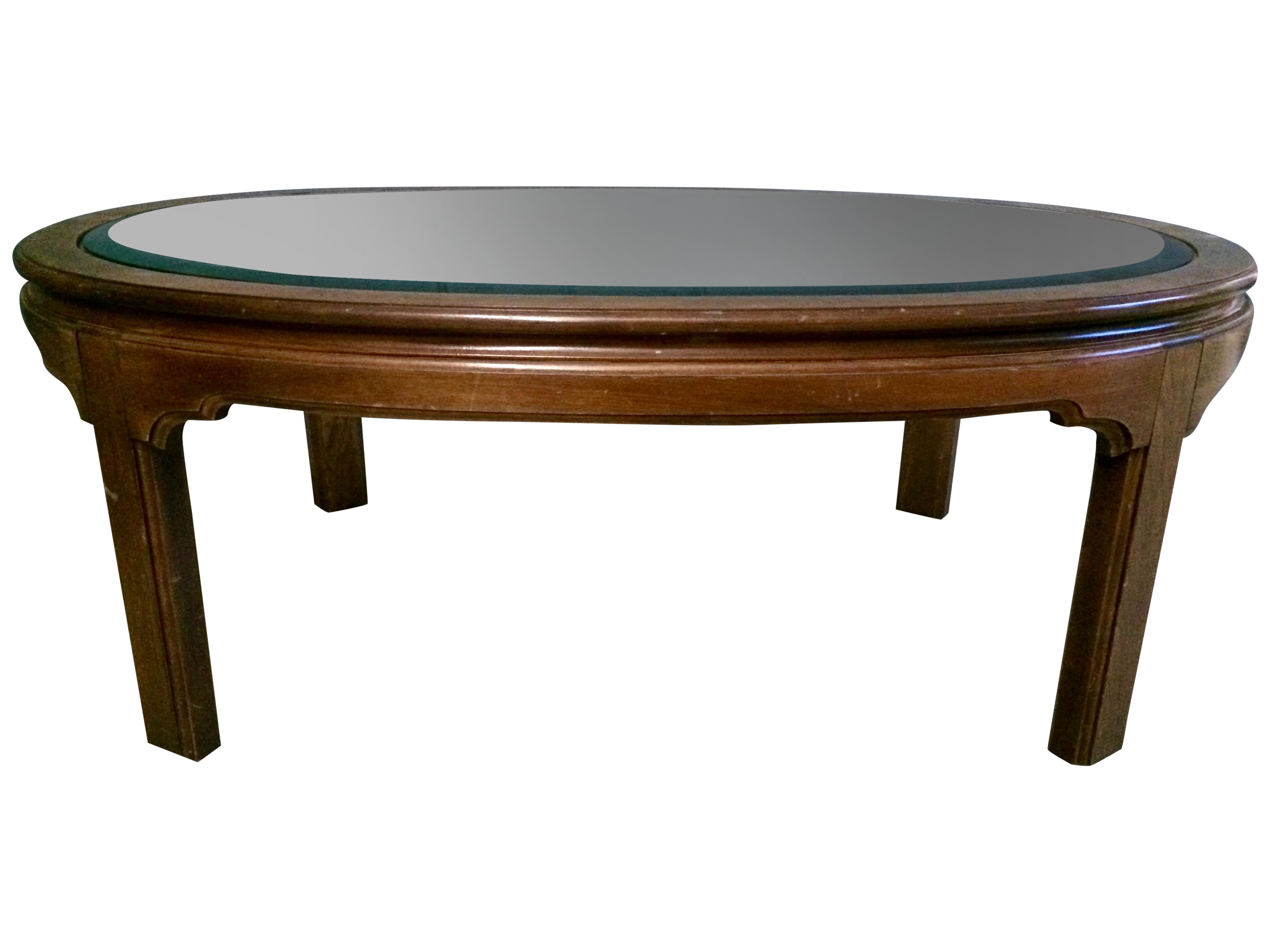 vintage large oval wood glass coffee table chairish. Black Bedroom Furniture Sets. Home Design Ideas
