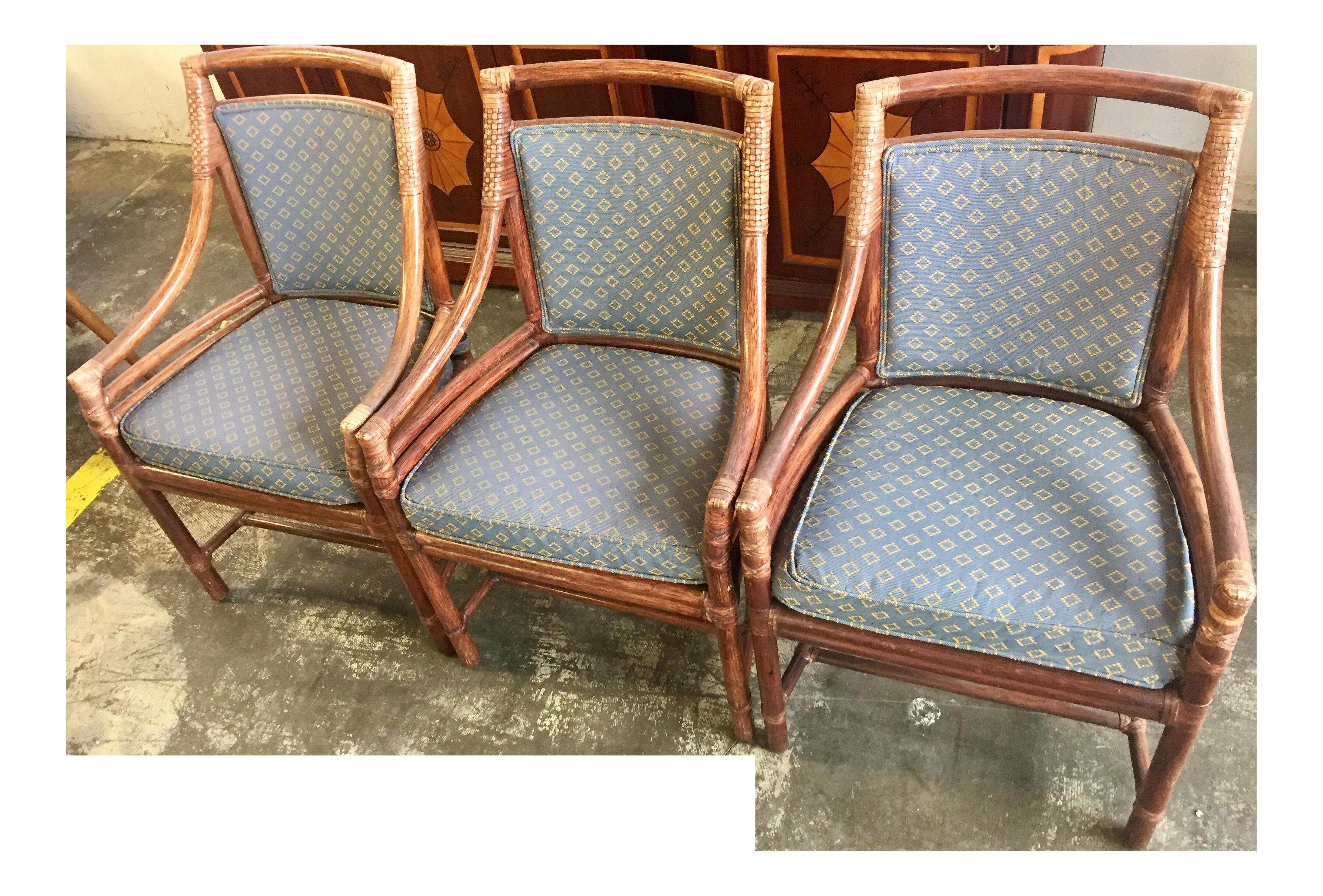 Mcguire Handmade Cane Armchair Set Of 3 Chairish