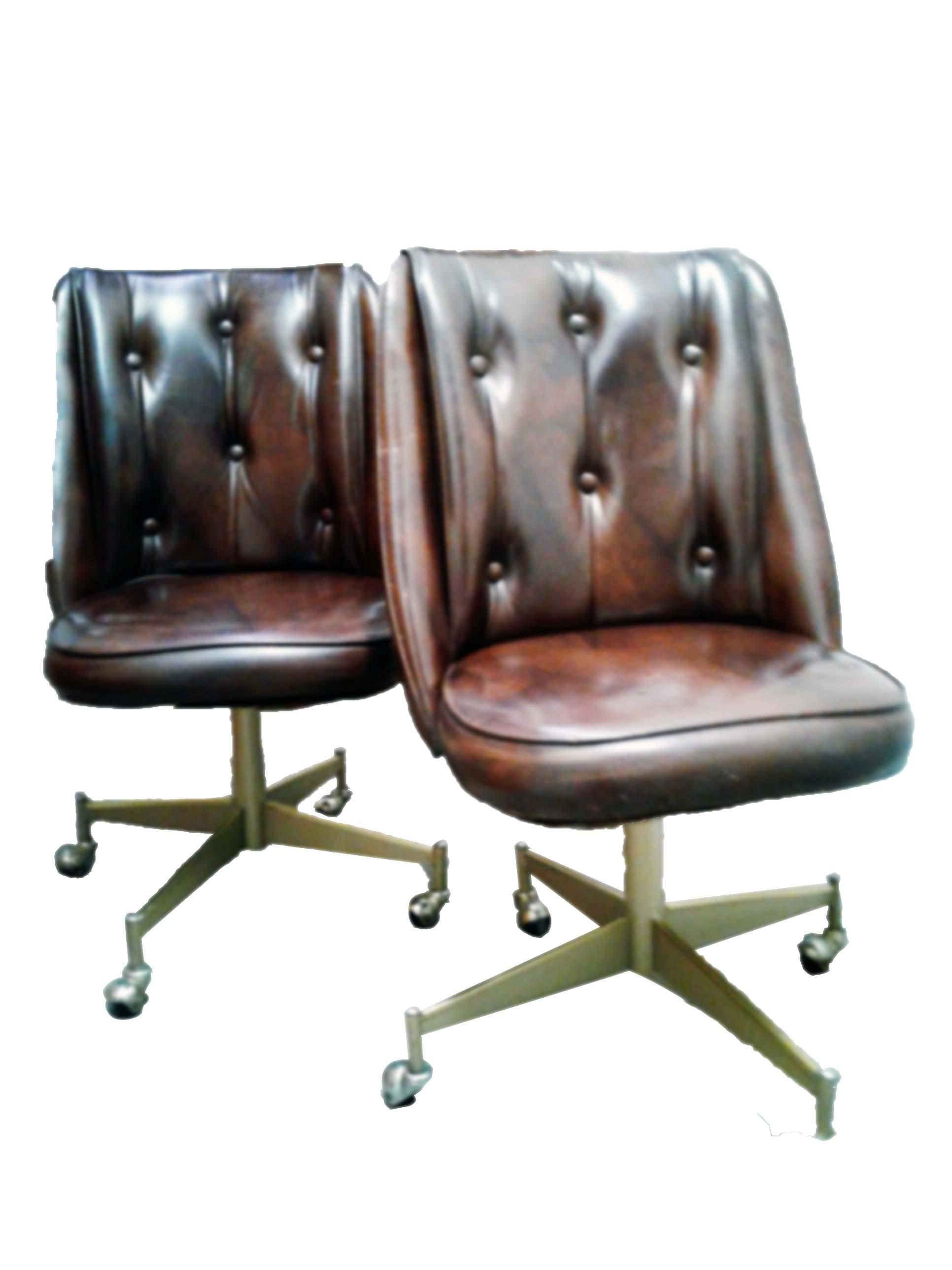 Vintage Douglas Vinyl Chairs On Star Base With Casters A