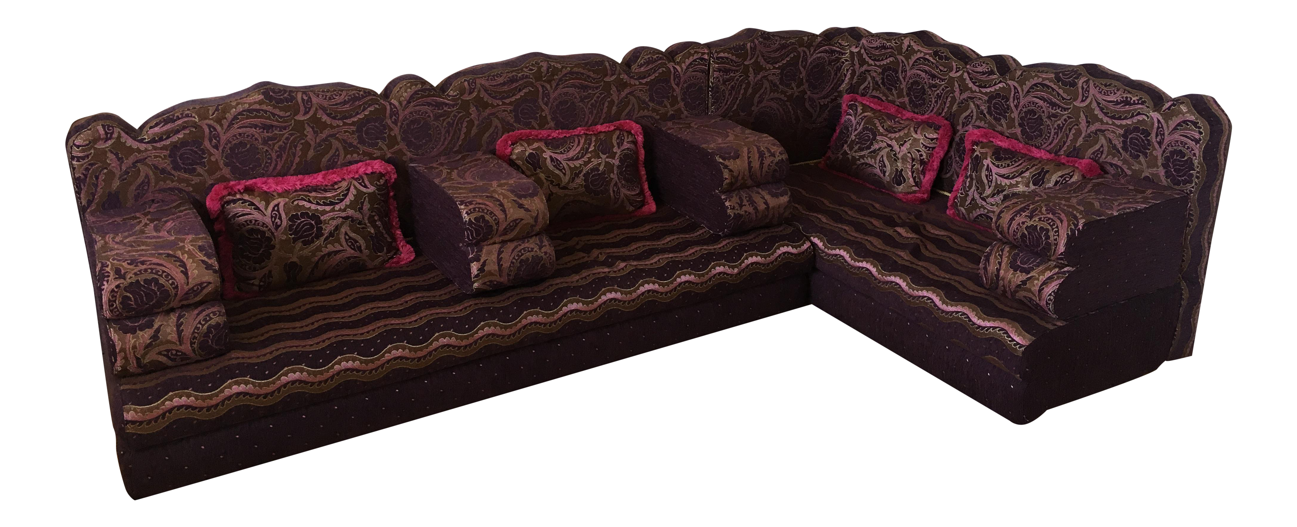 Abu Akram Son s Middle Eastern Dark Purple Sectional Sofa