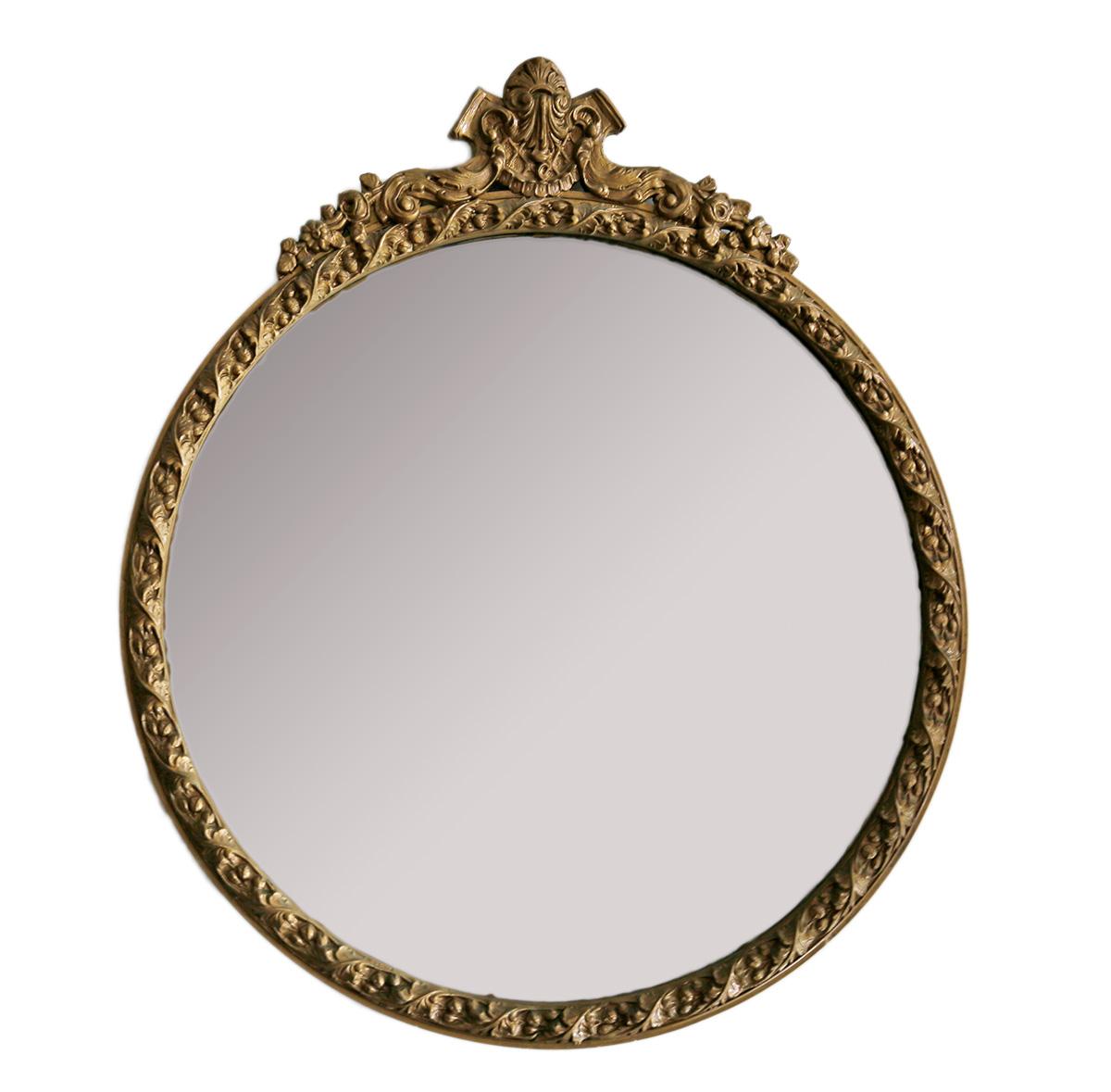 Vintage Round Gold Mirror | Chairish