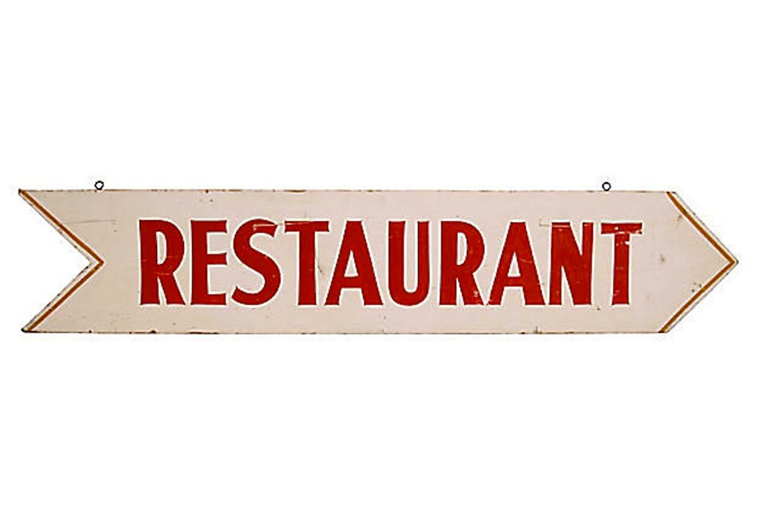 Vintage Restaurant Sign Chairish