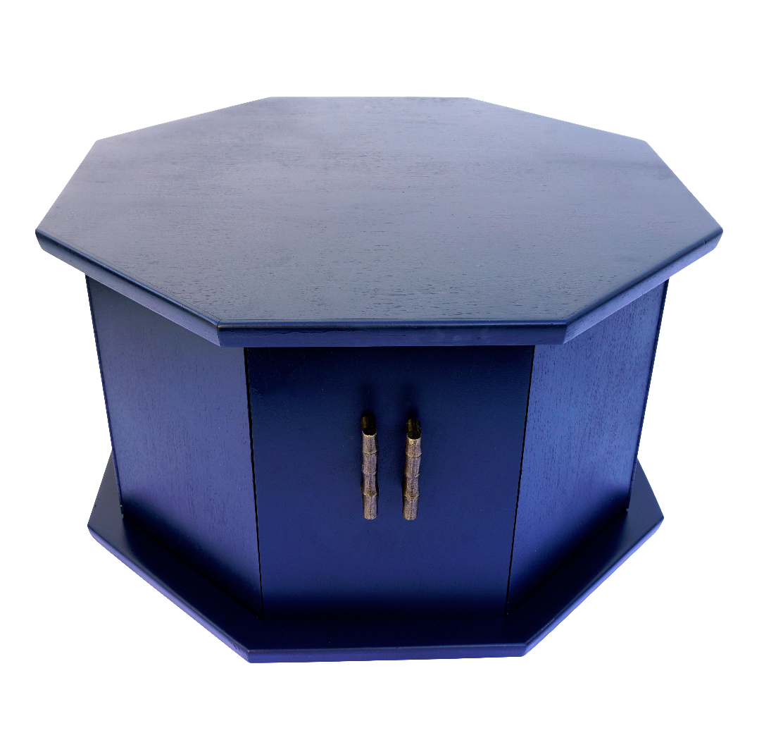 mid century walnut wood navy blue octagonal side table cabinet chairish. Black Bedroom Furniture Sets. Home Design Ideas