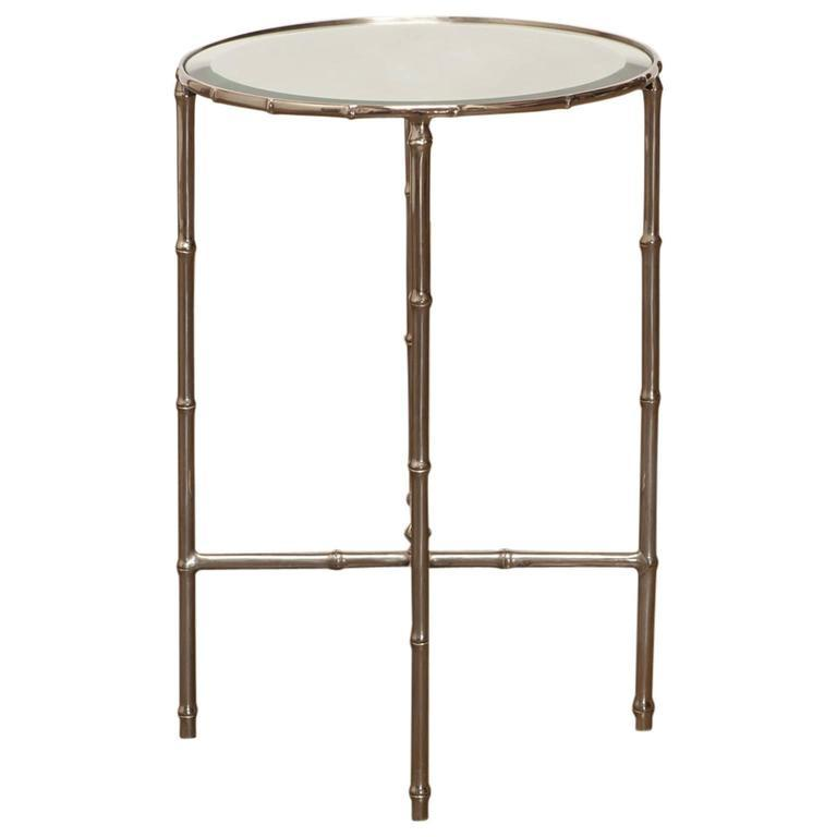 Superb Mastercraft Furniture For Sale #12: Mastercraft Nickel Faux Bamboo Round Side Table