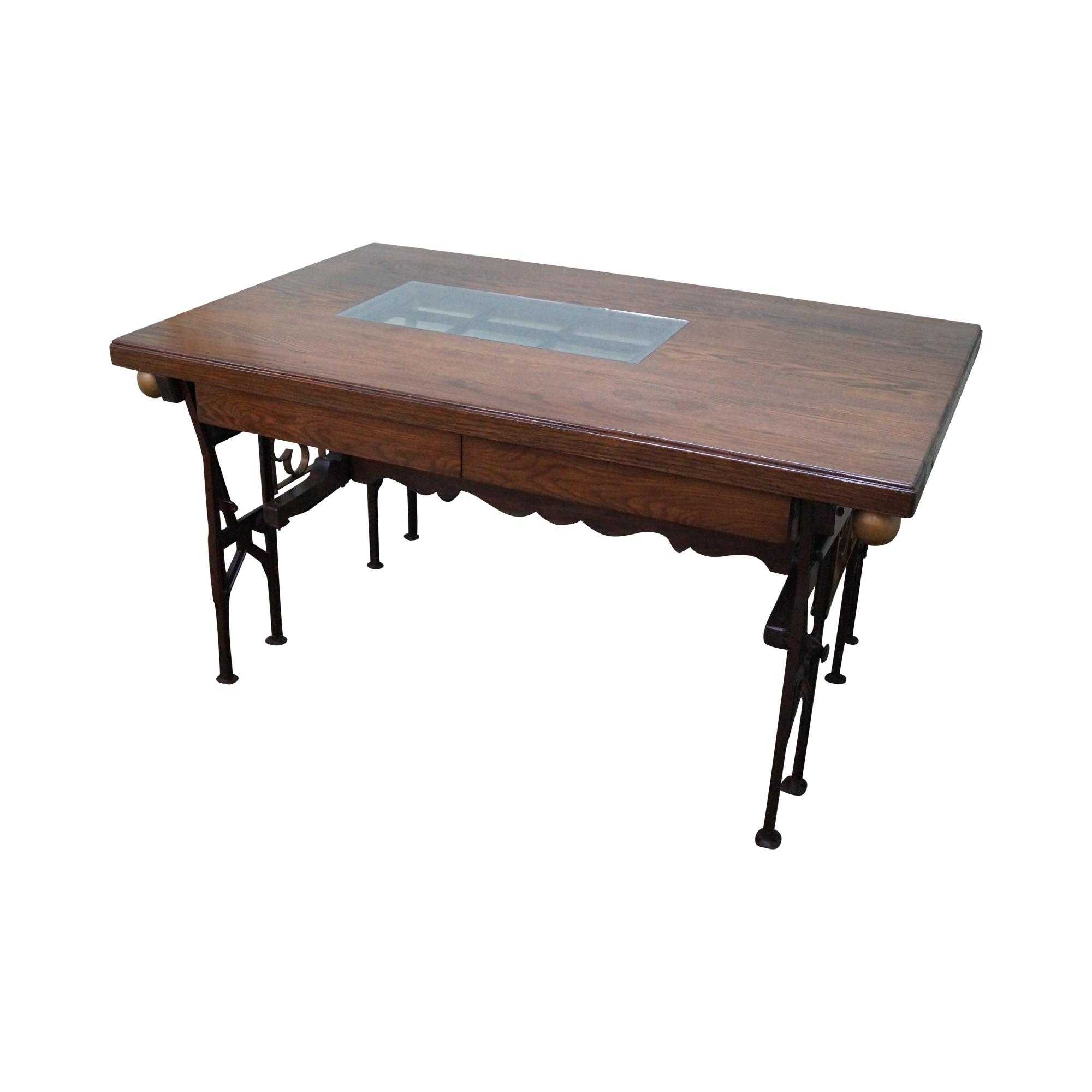 hand crafted iron base gothic writing desk chairish
