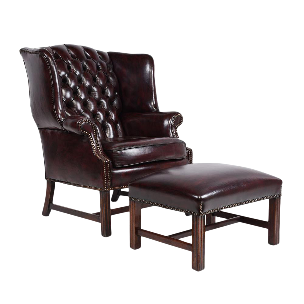 vintage chesterfield style wingback chair and foot rest chairish. Black Bedroom Furniture Sets. Home Design Ideas