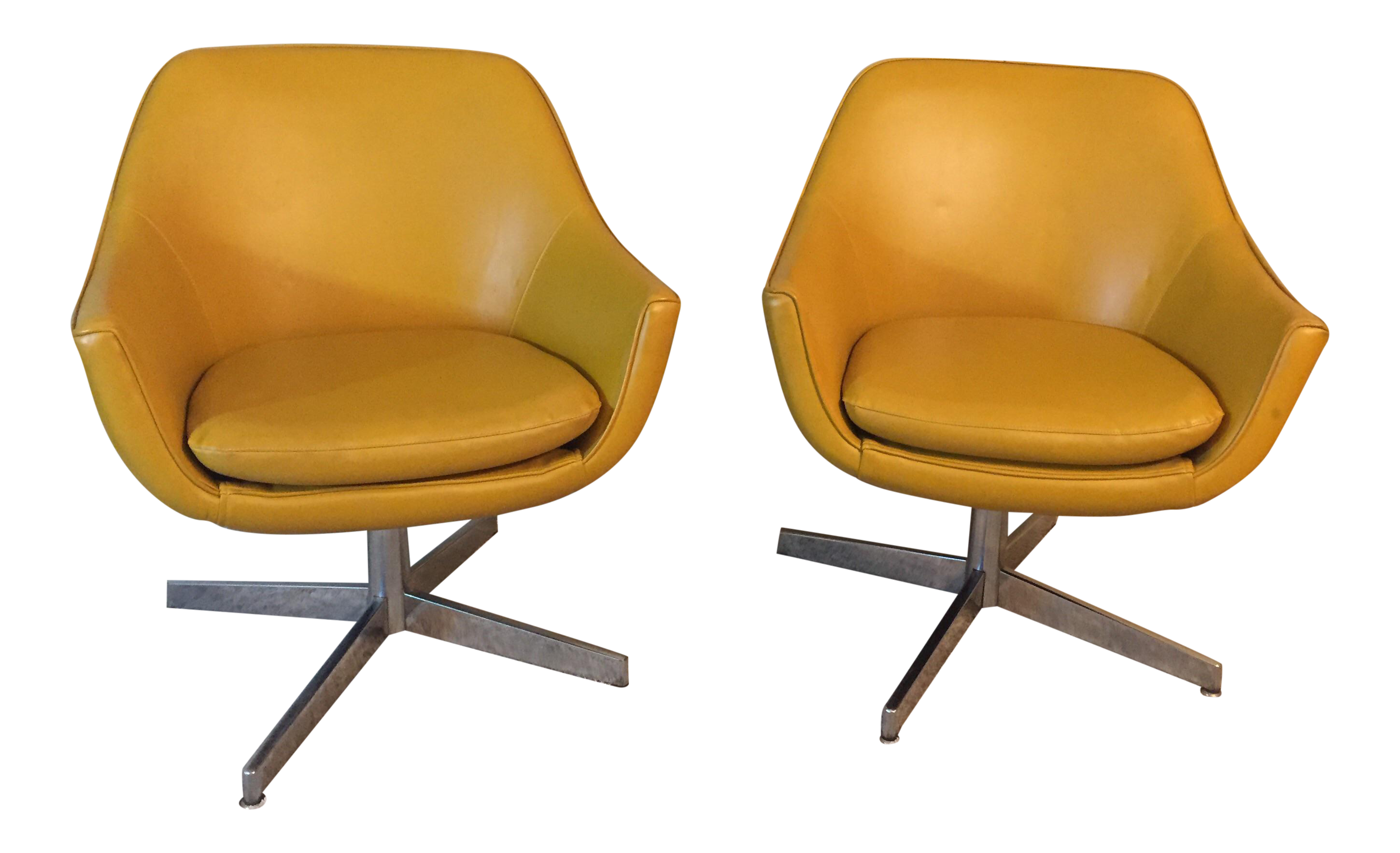 Vintage Overman Style Swivel Chairs A Pair Chairish