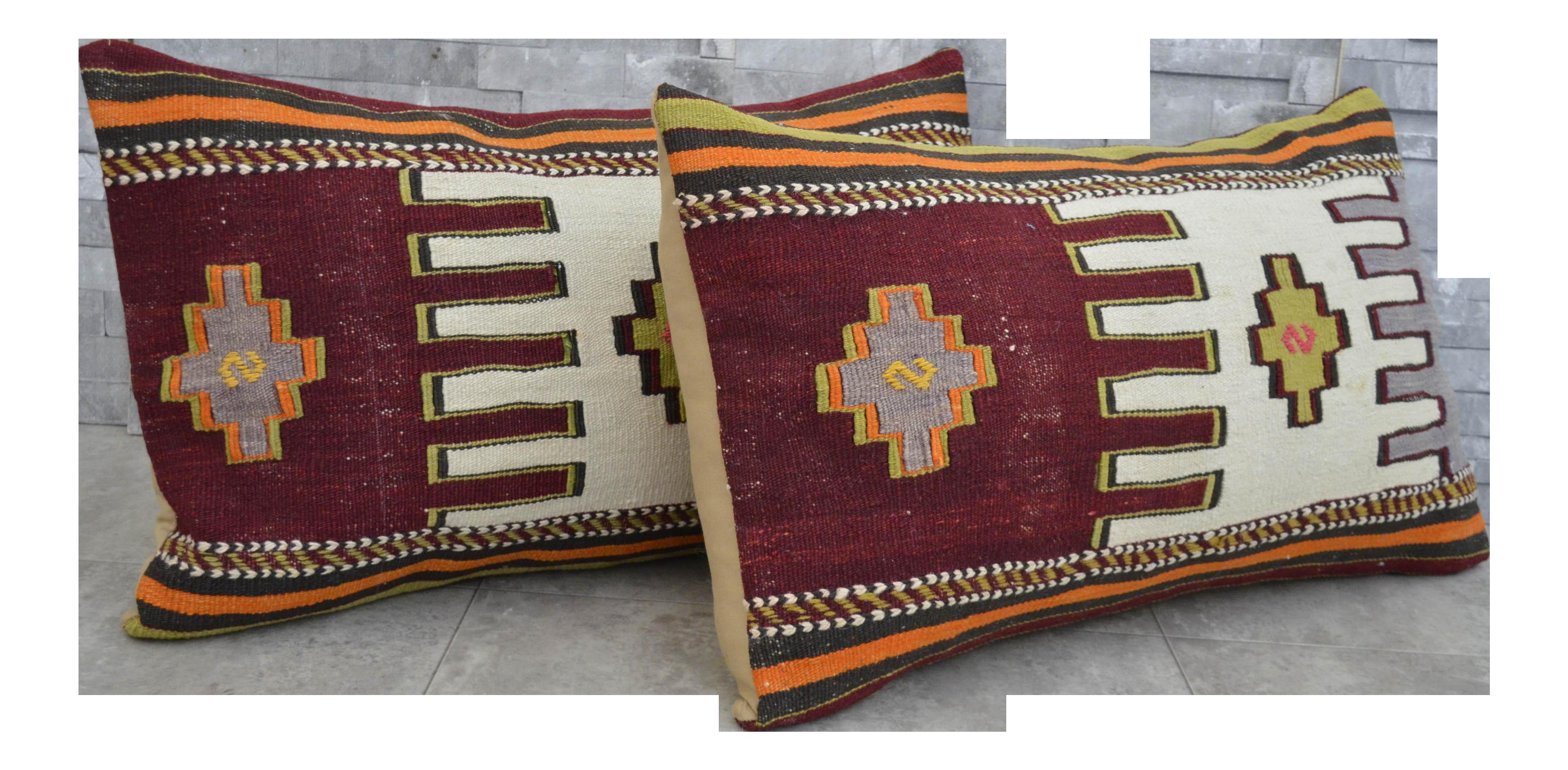 Vintage Turkish Kilim Rug Pillow Covers A Pair Chairish
