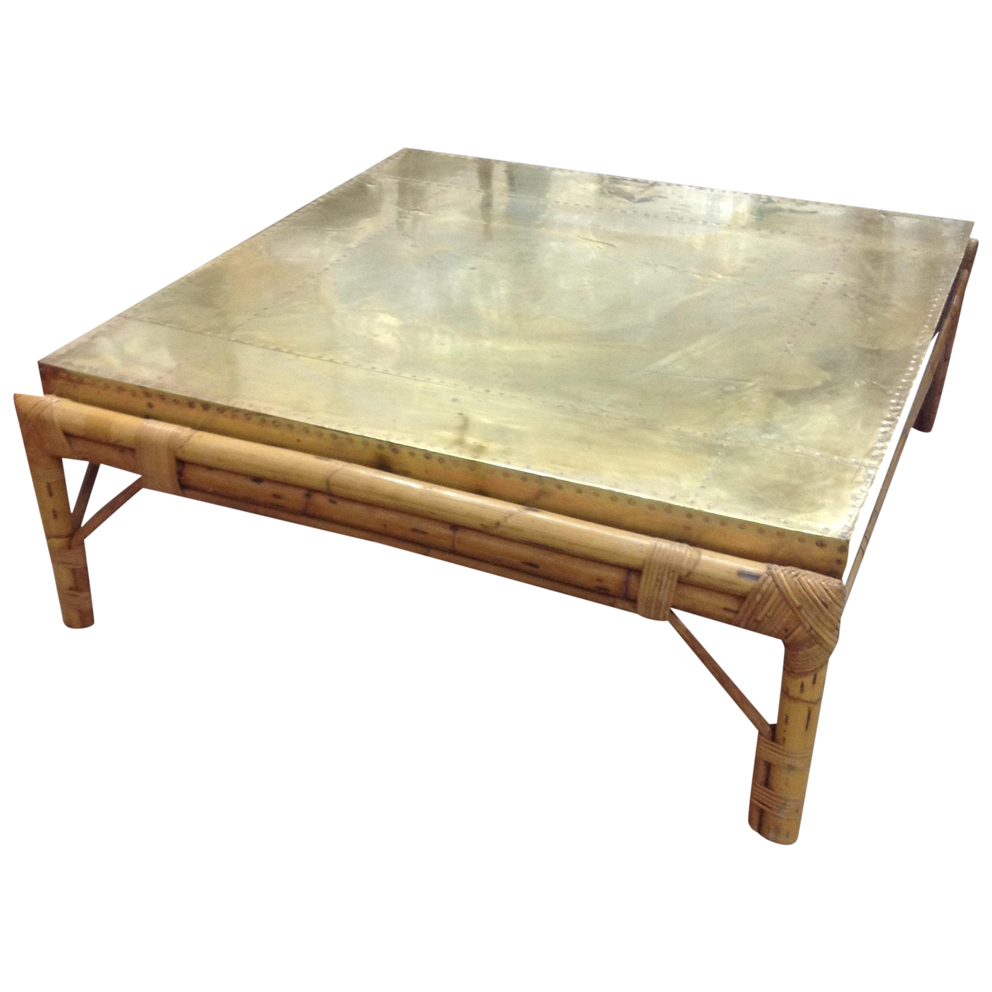 Regency Bamboo Custom Brass Top Table Sarreid