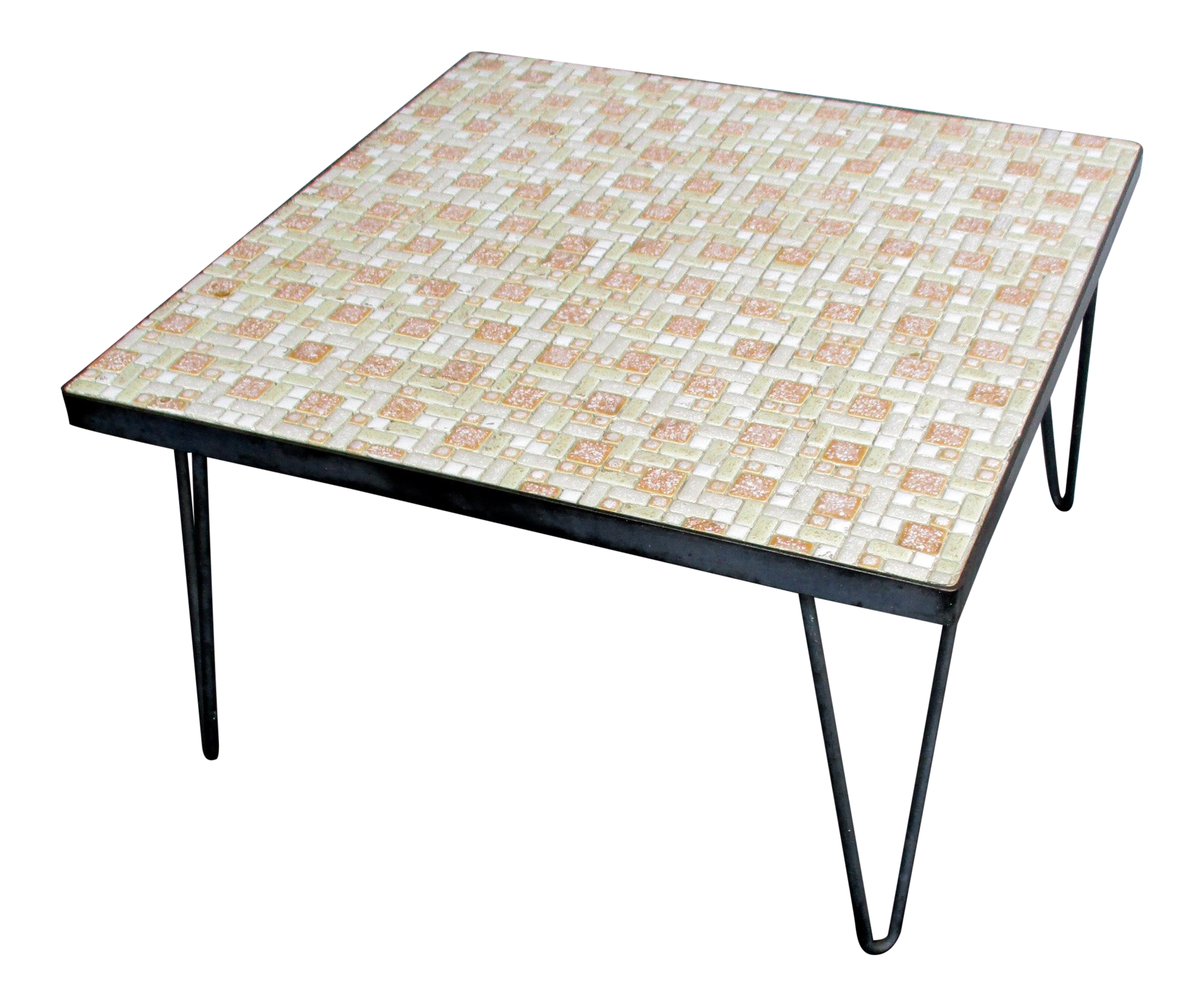 mosaic mid century modern orange and white coffee table patio furniture chairish. Black Bedroom Furniture Sets. Home Design Ideas