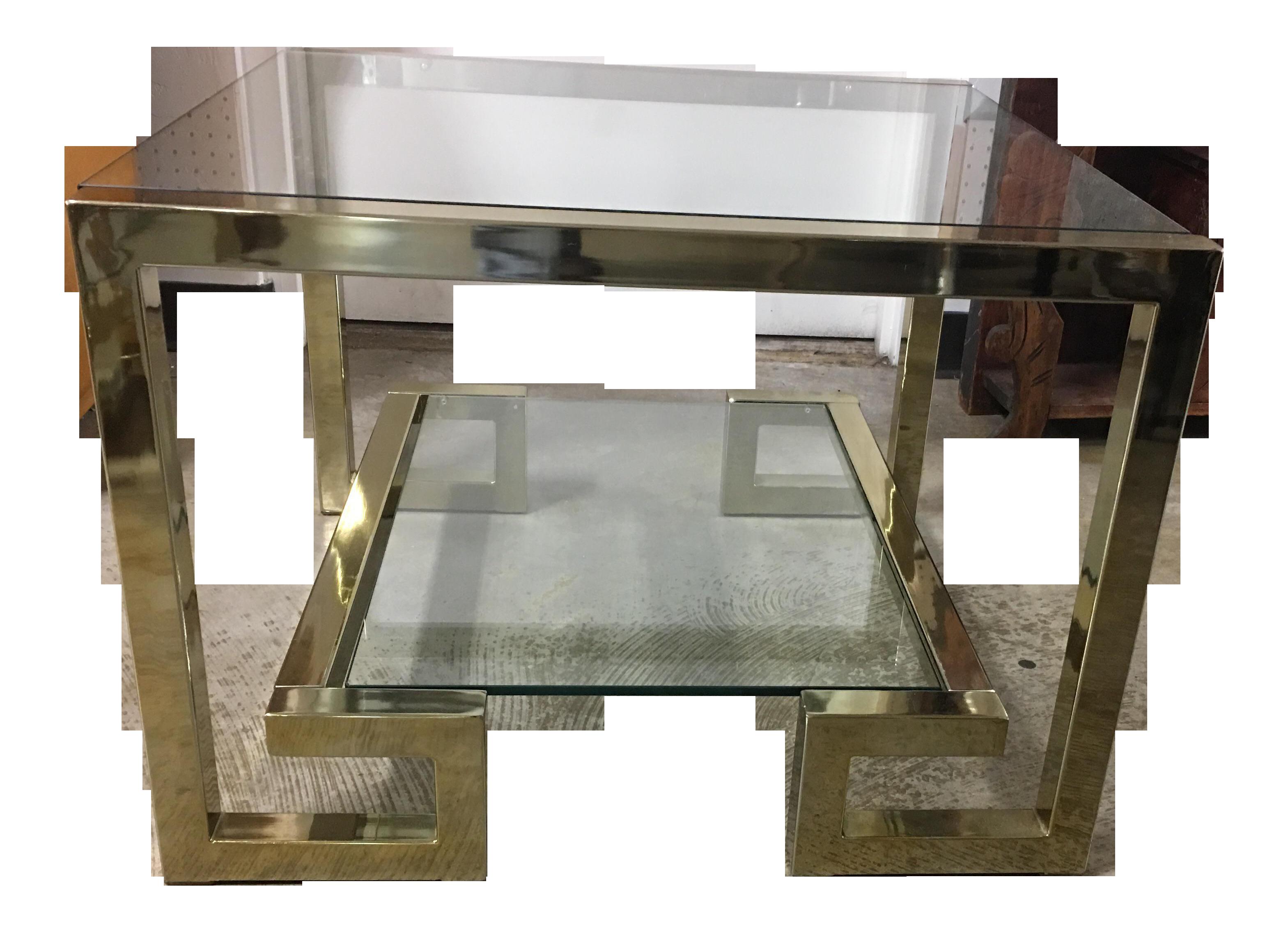 Image Of Milo Baughman Greek Key Brass Glass End Table